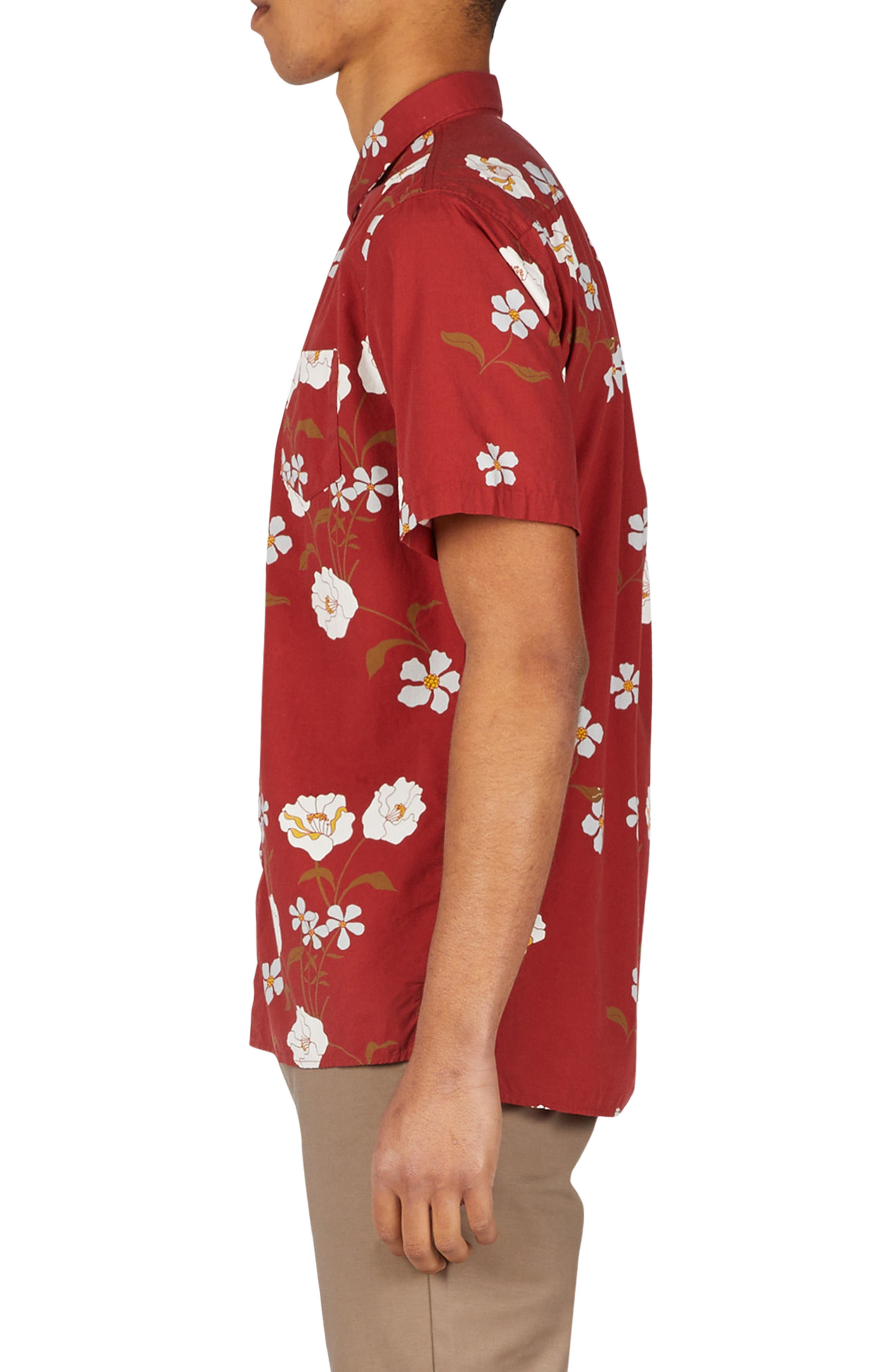 Floral Woven Shirt,                             Alternate thumbnail 3, color,                             Dark Cherry