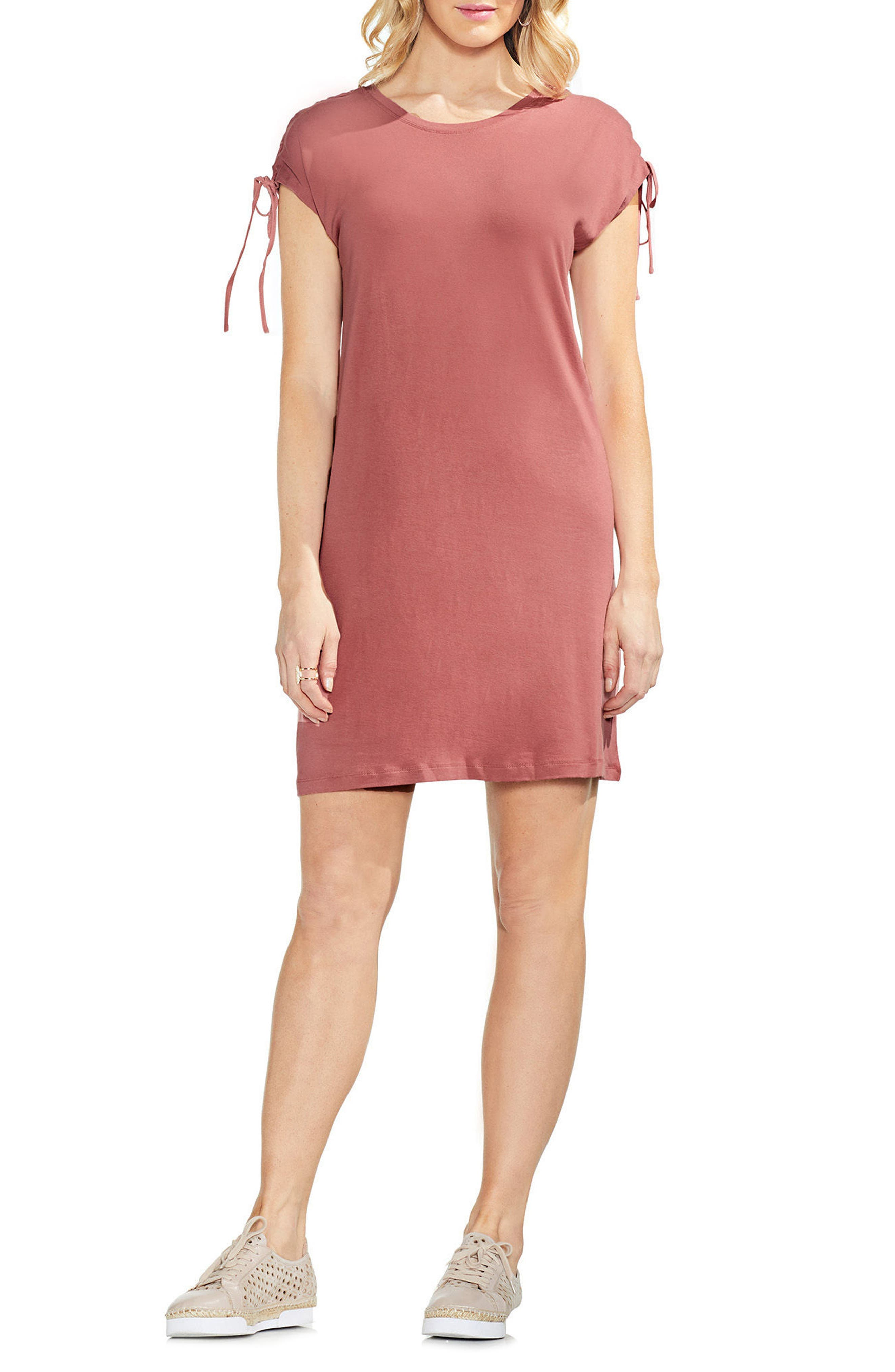 Lace-Up Shoulder Dress,                         Main,                         color, Claret Shadow