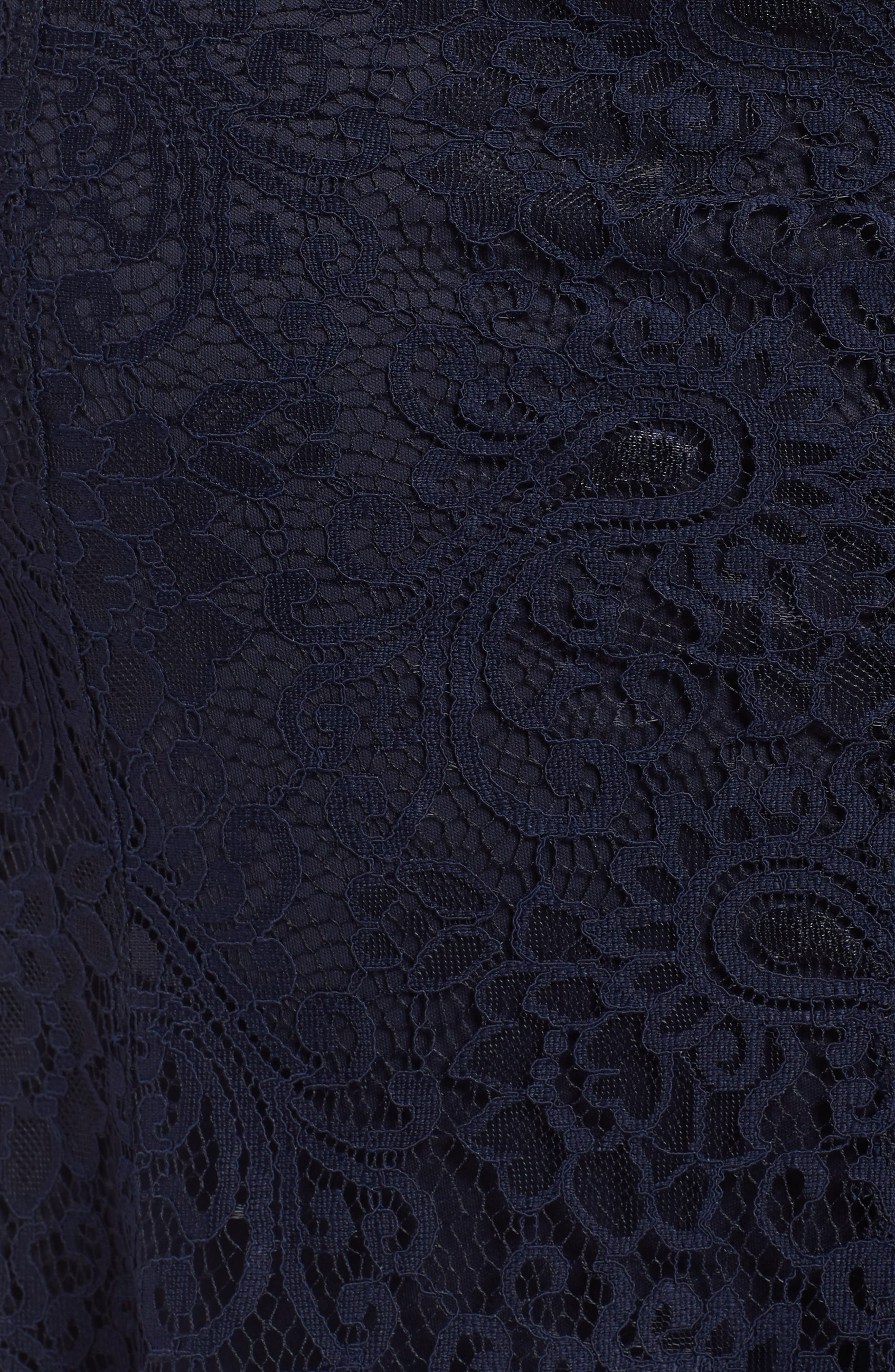 Mock Two-Piece Lace Gown,                             Alternate thumbnail 5, color,                             Navy