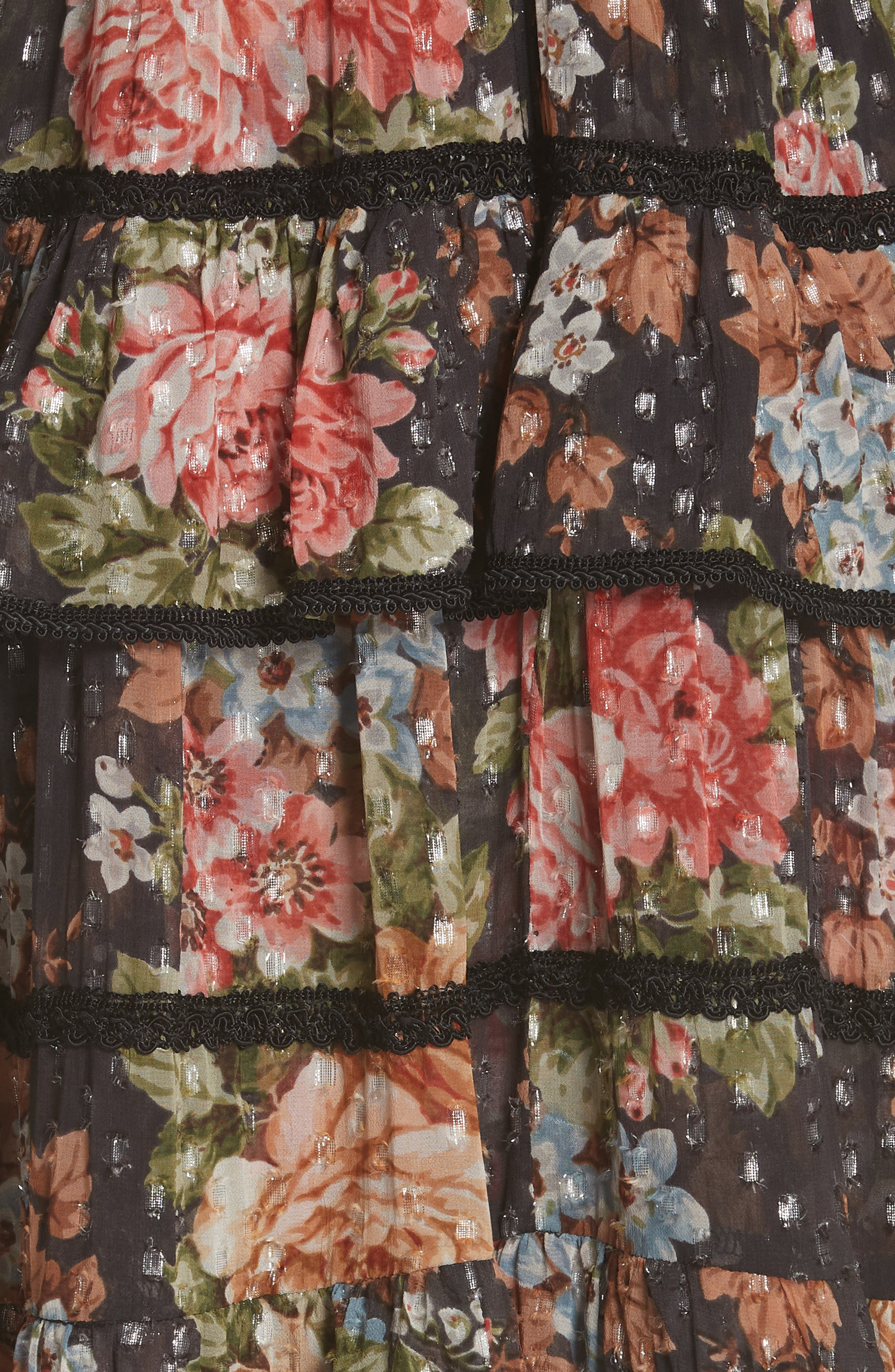 Paradise Rose Shimmer Dress,                             Alternate thumbnail 5, color,                             Graphite