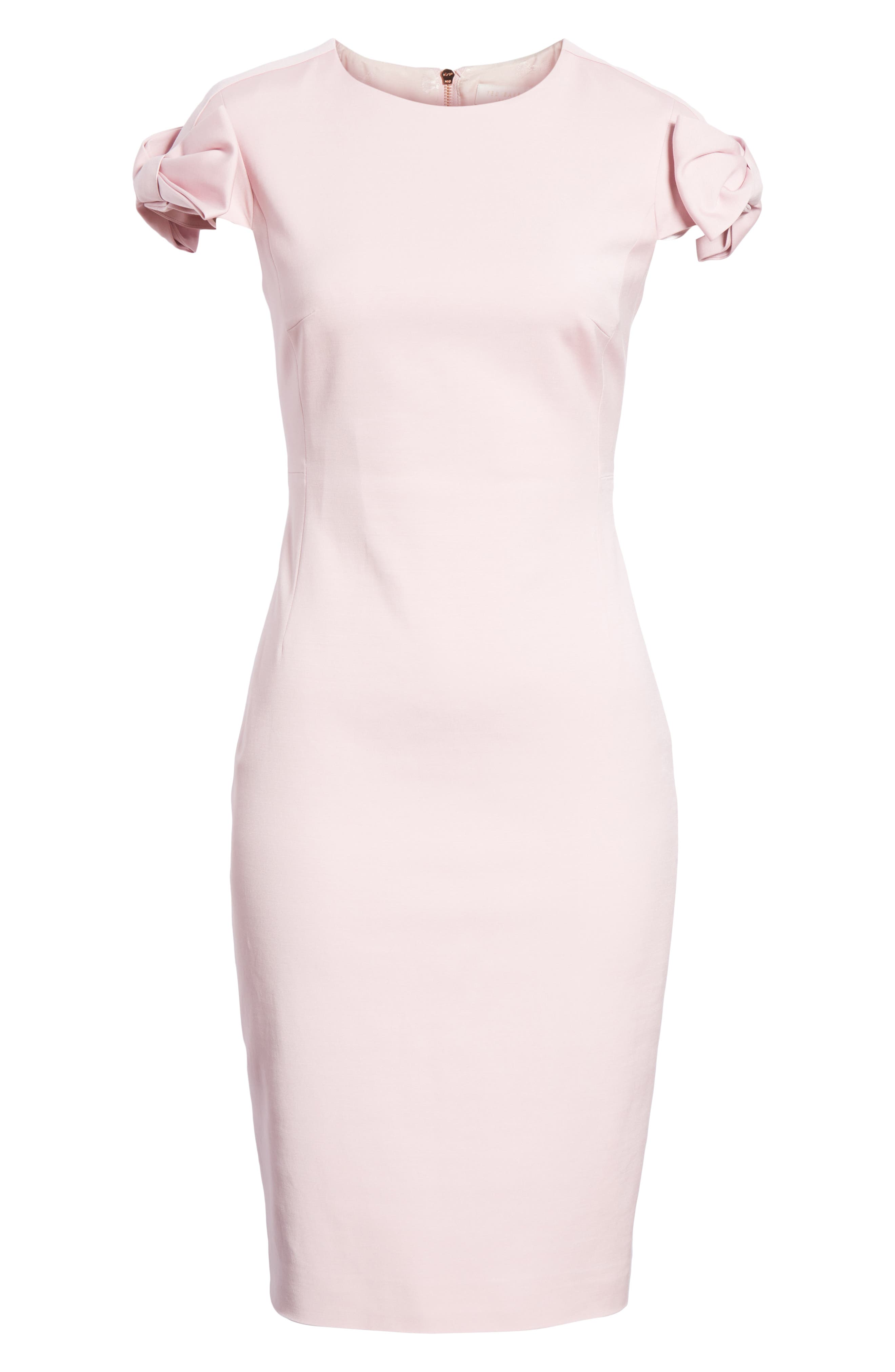 Bow Shoulder Pencil Dress,                             Alternate thumbnail 6, color,                             Lilac