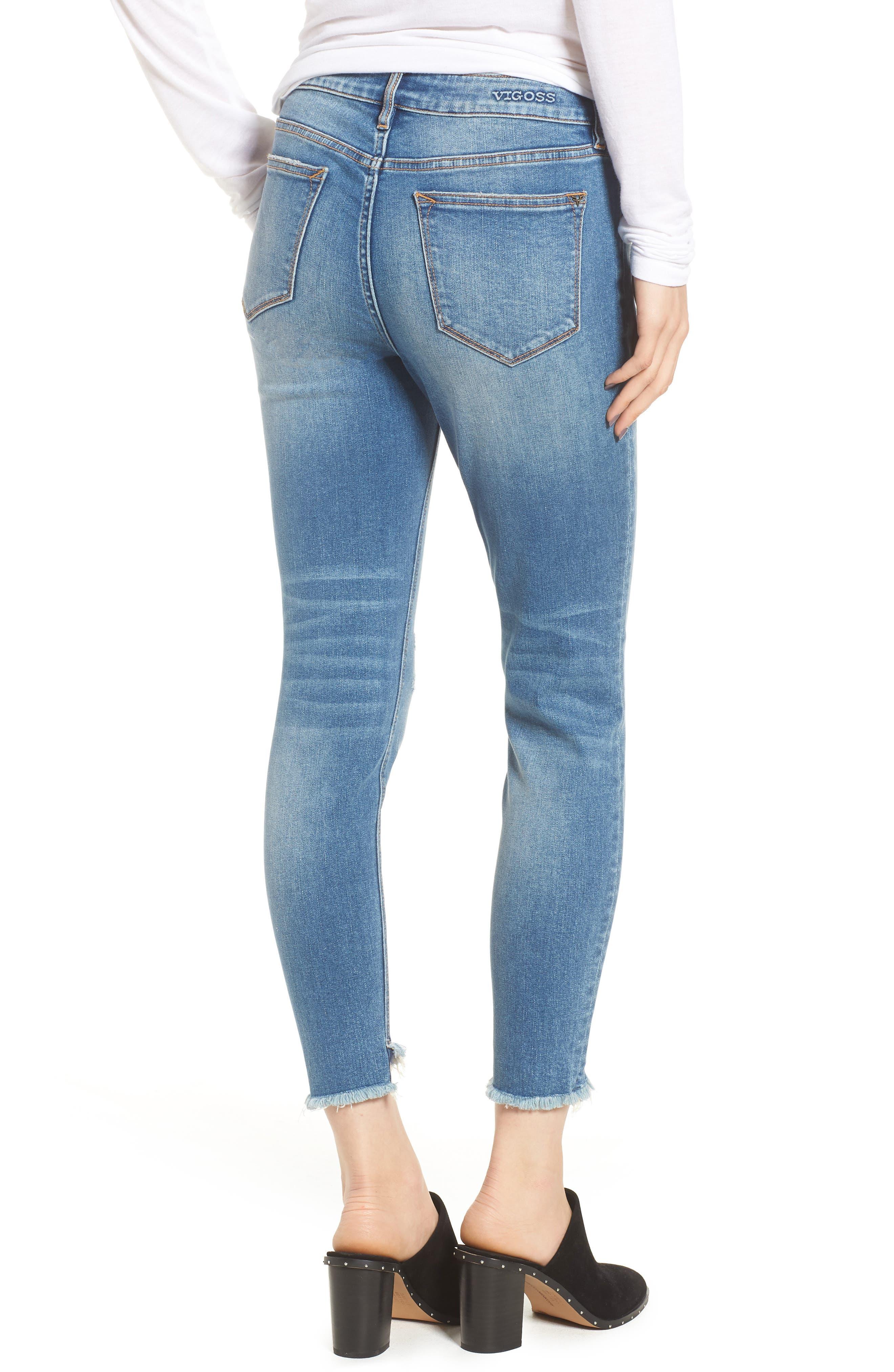 Marley Tulip Hem Ankle Skinny Jeans,                             Alternate thumbnail 2, color,                             Dark Wash