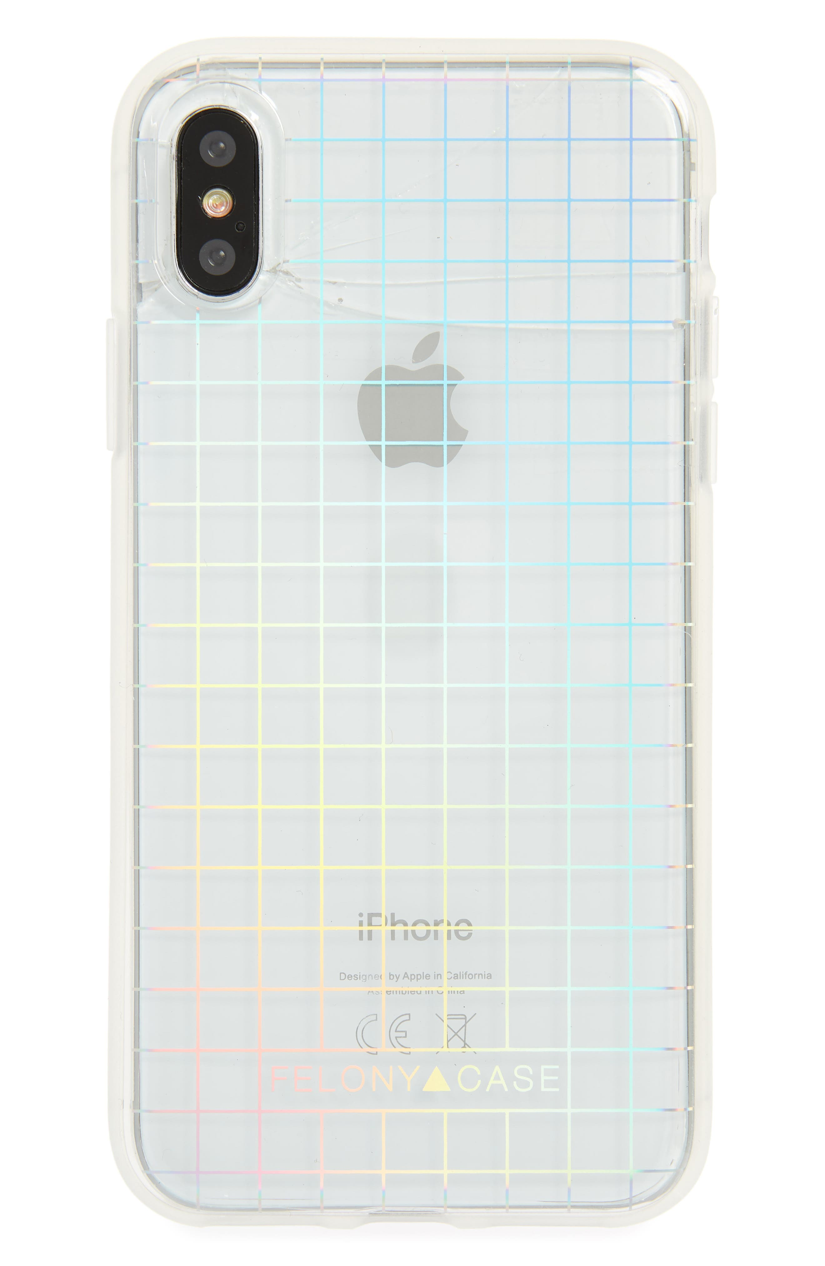 Holographic iPhone X Case,                         Main,                         color, Multi