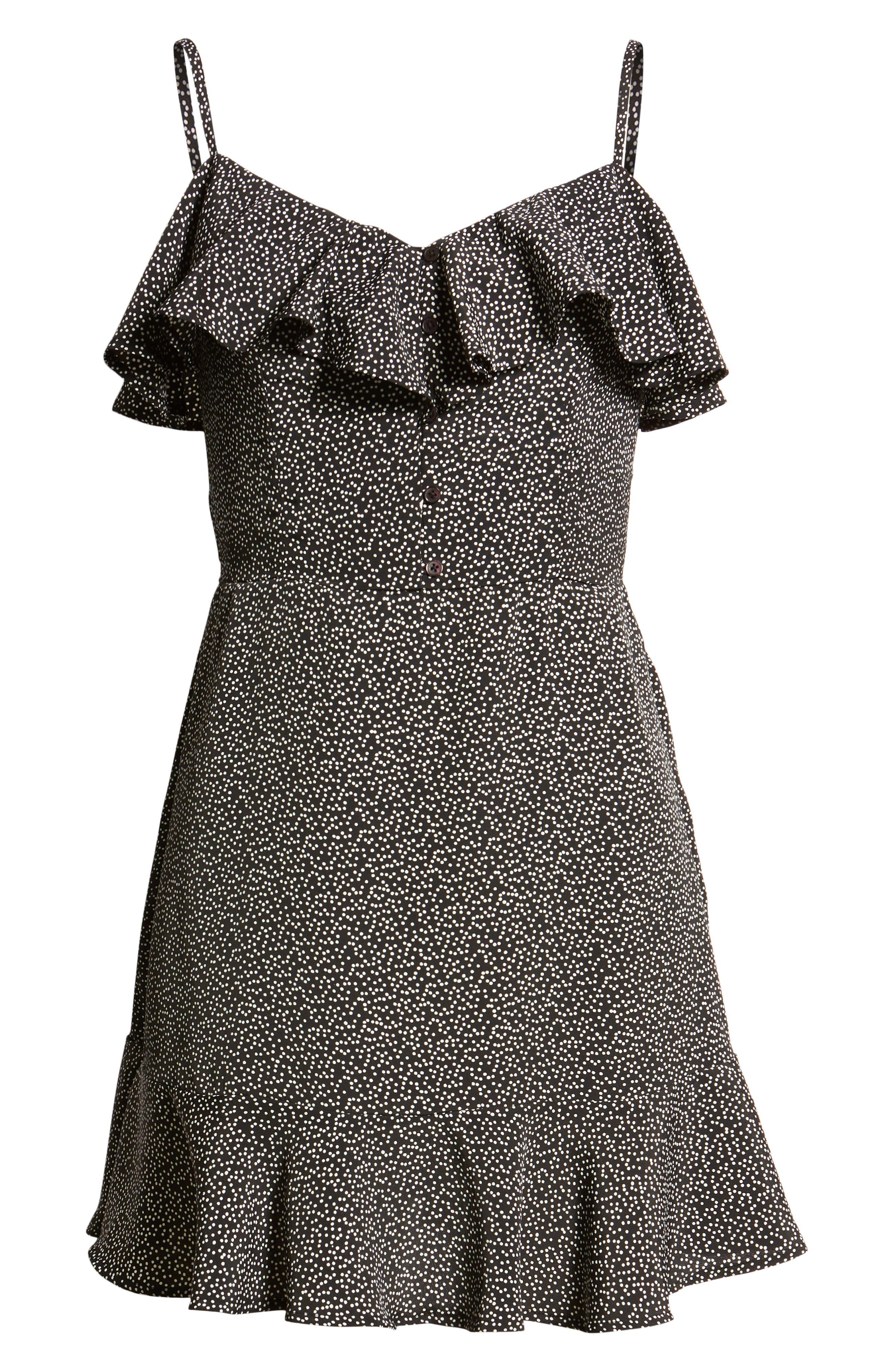 Button Front Frilly Dot Dress,                             Alternate thumbnail 7, color,                             Black Ground Polka Dot