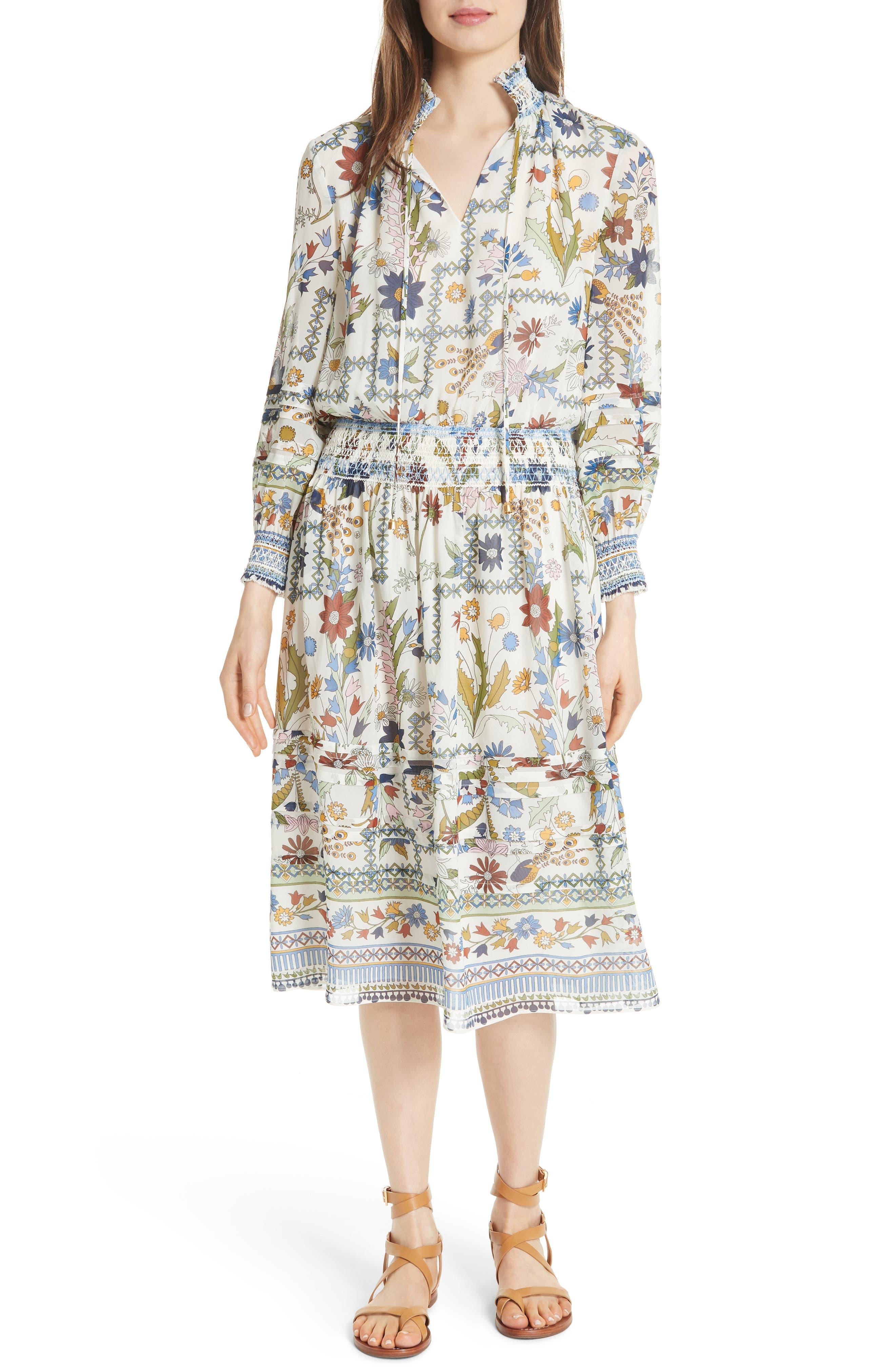 Waverly Floral Print Silk Midi Dress,                         Main,                         color, Ivory Meadow Folly