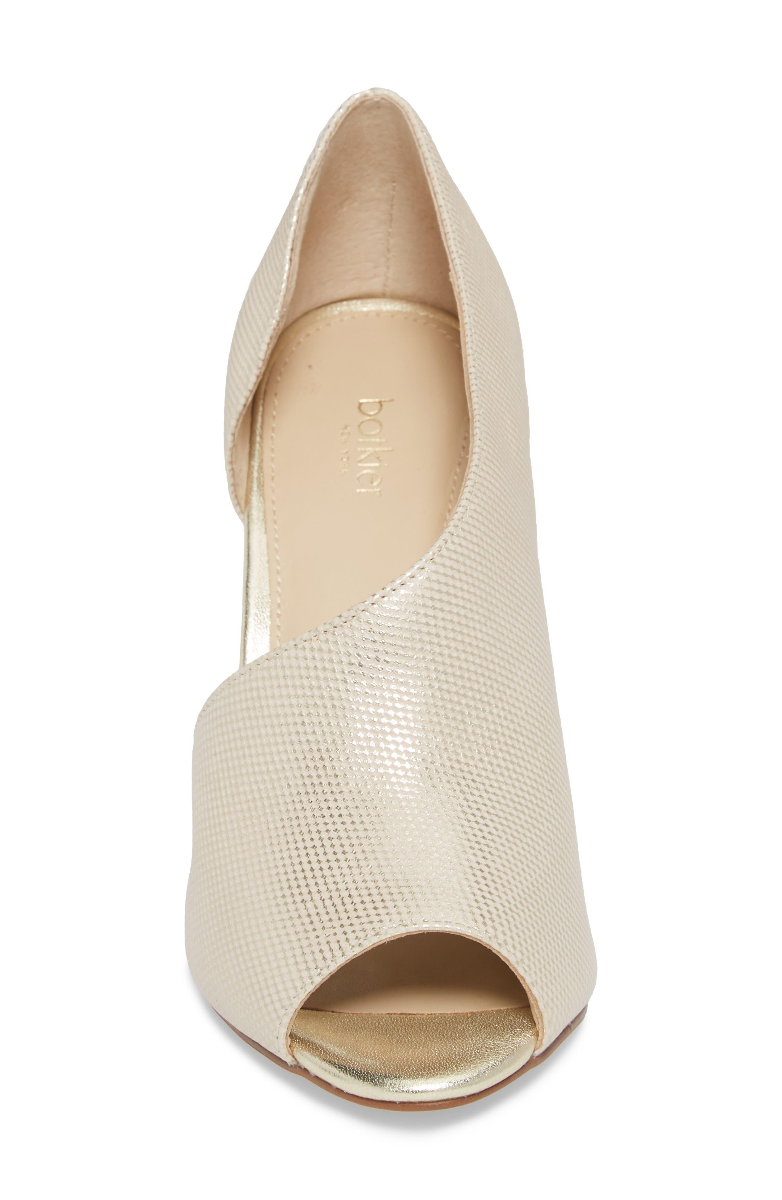 Adelia Asymmetrical Sandal,                             Alternate thumbnail 4, color,                             Gold Shimmer Fabric
