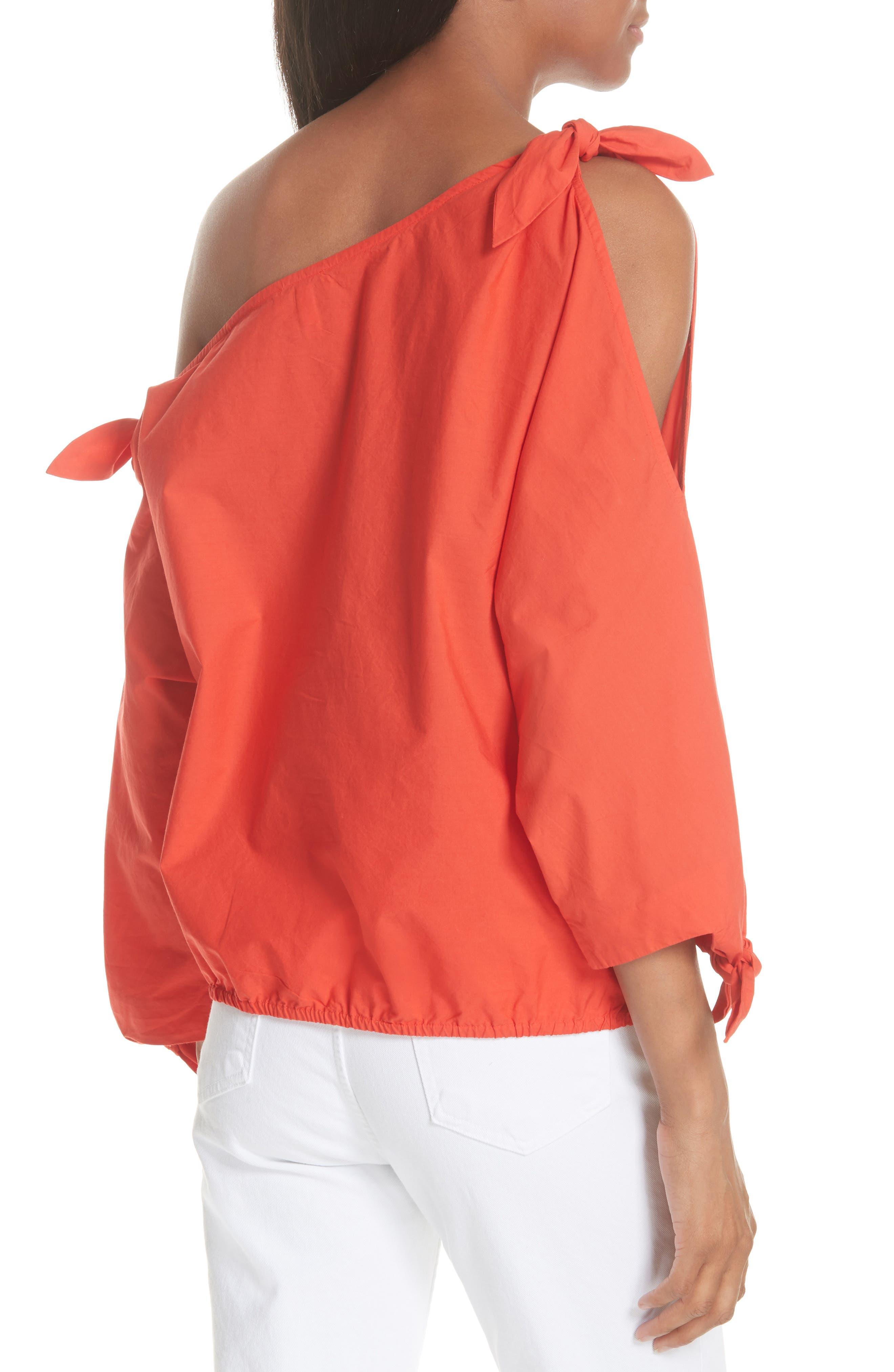 Colissa One-Shoulder Cotton Blouse,                             Alternate thumbnail 2, color,                             Salsa