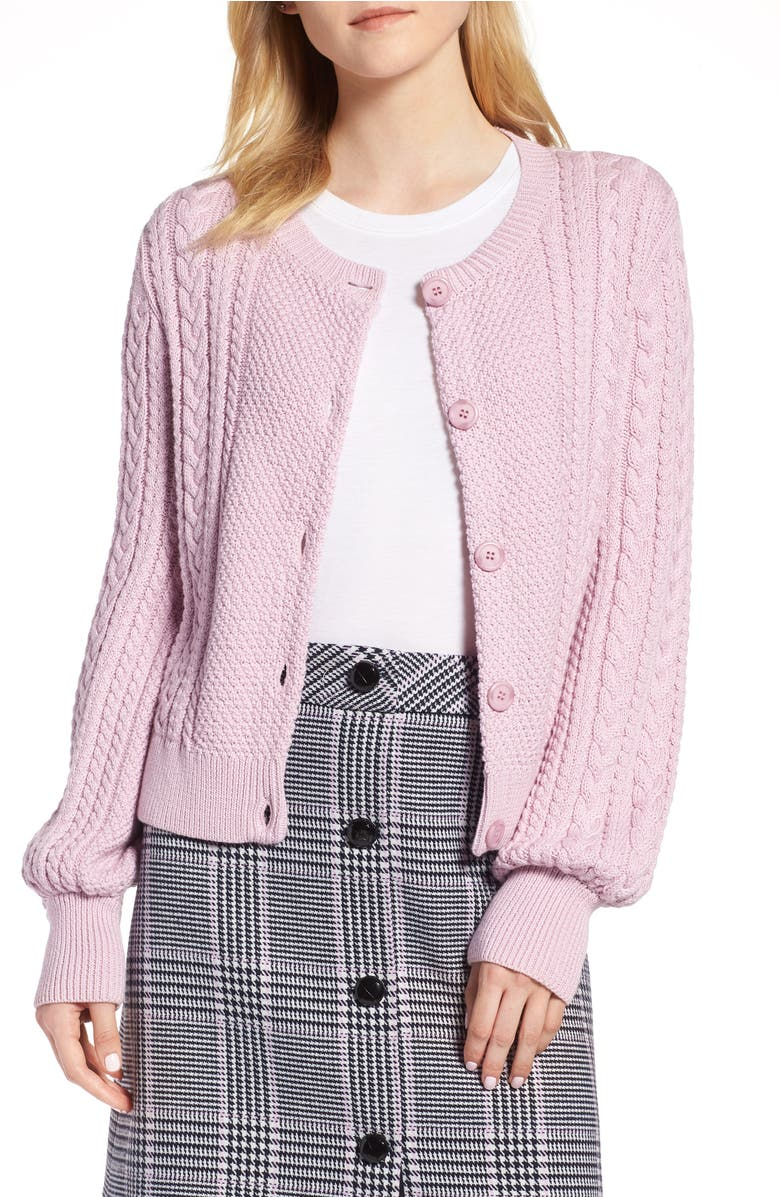 Blouson Sleeve Cardigan,                         Main,                         color, Purple Fragrant
