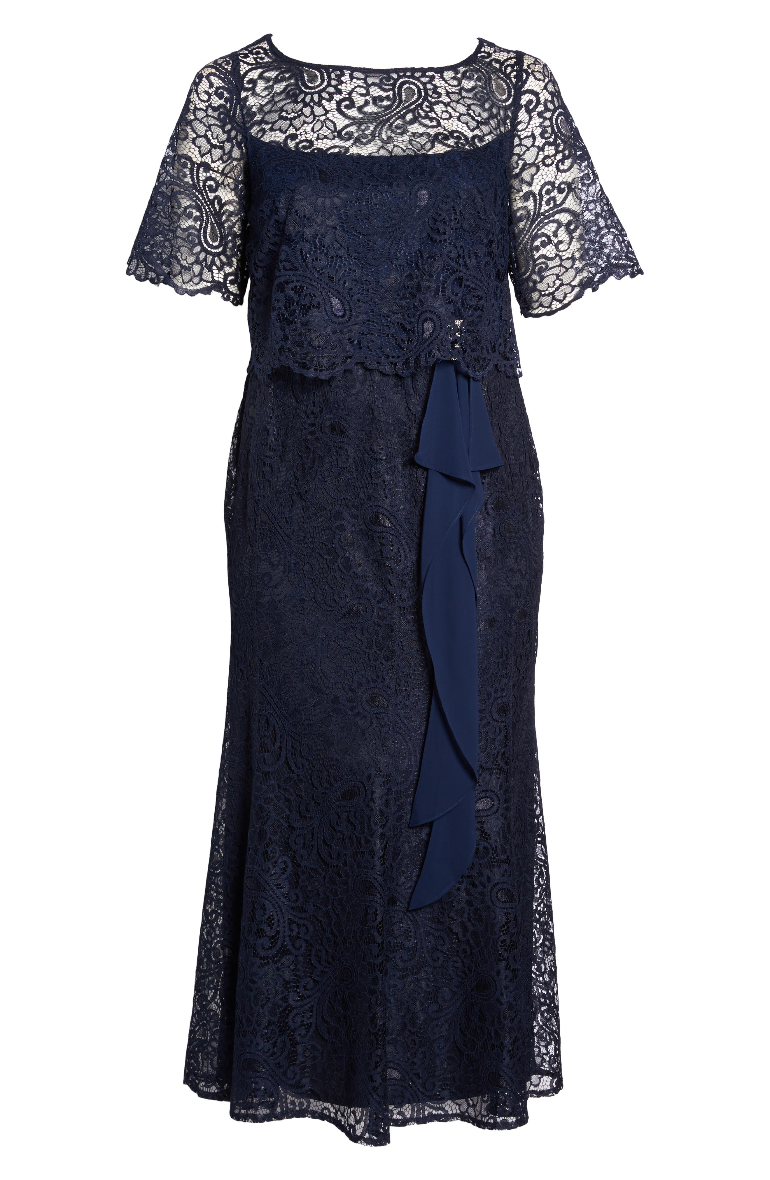 Mock Two-Piece Lace Gown,                             Alternate thumbnail 6, color,                             Navy