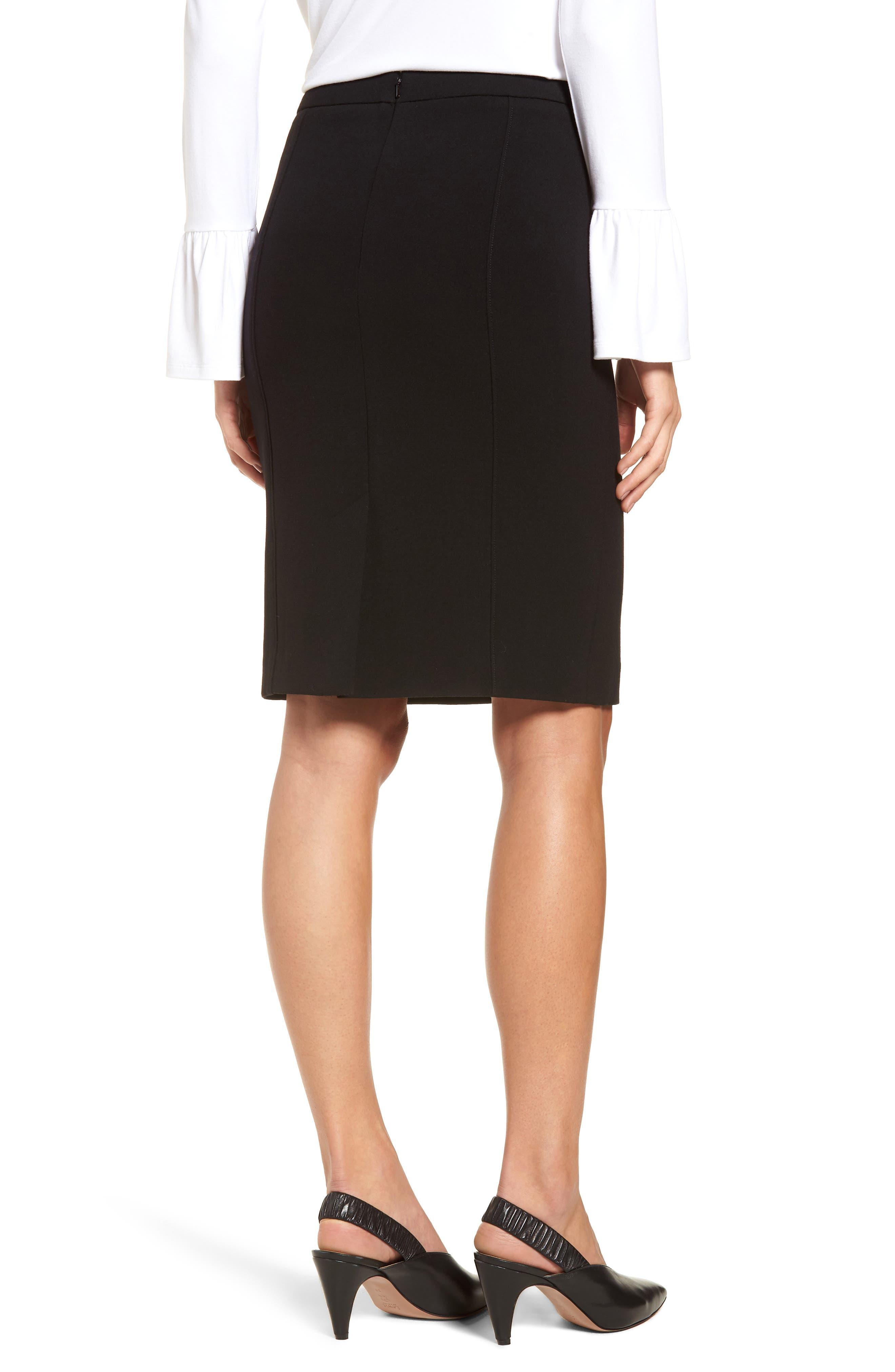 Seamed Pencil Skirt,                             Alternate thumbnail 2, color,                             Black