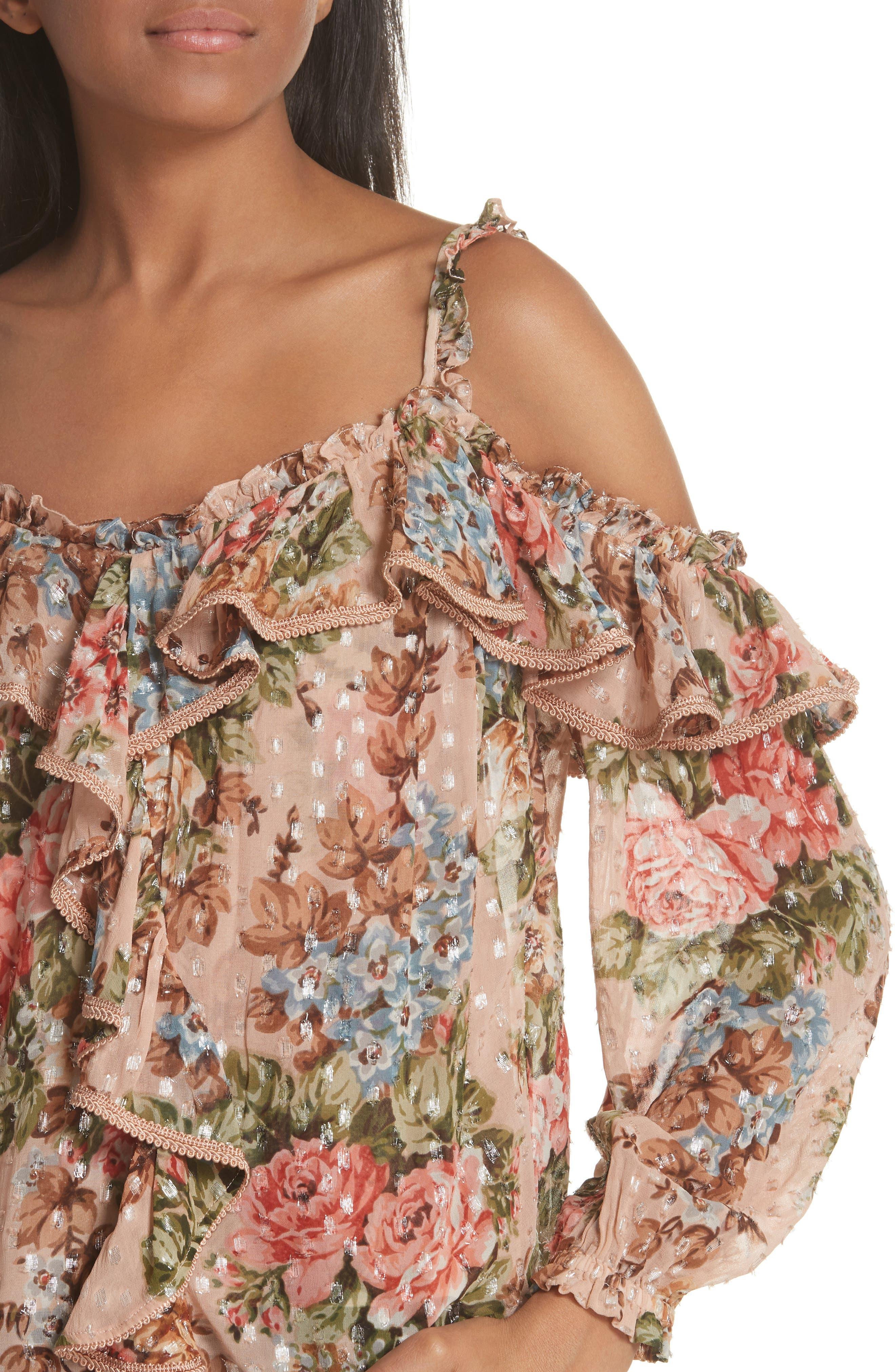 Paradise Rose Shimmer Top,                             Alternate thumbnail 4, color,                             Rose Quartz