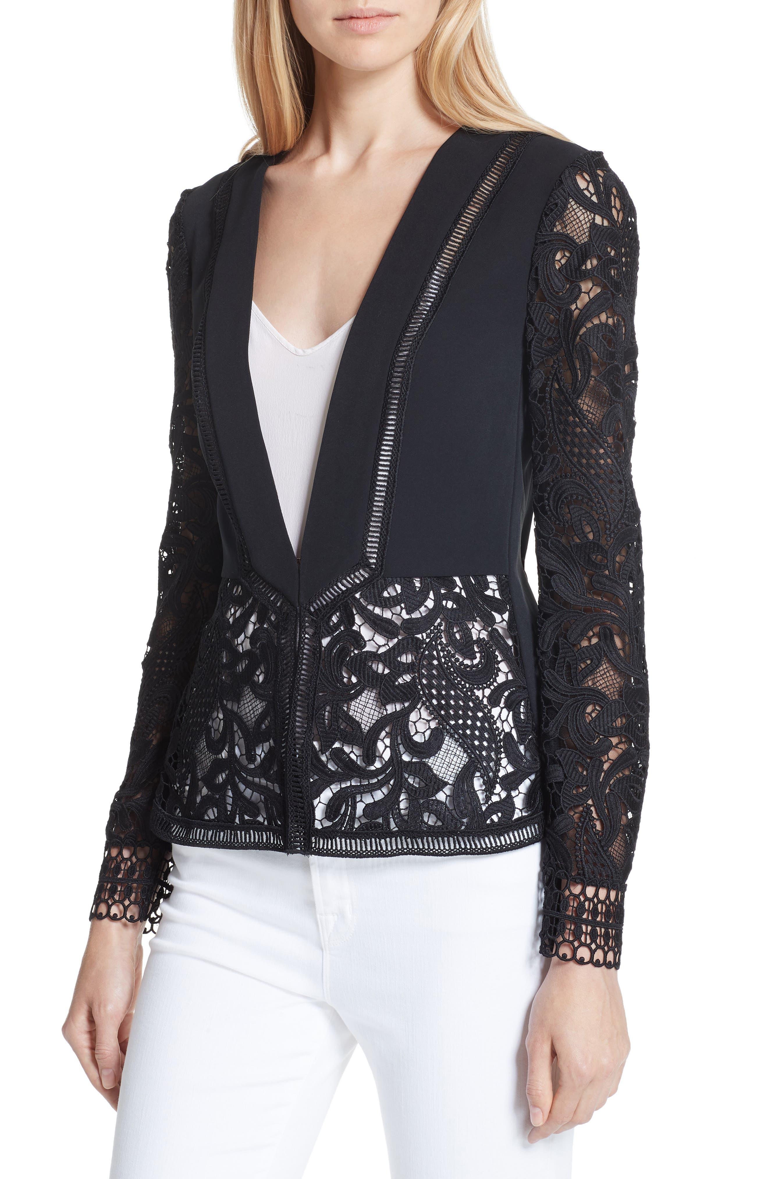 Liela Sheer Lace Panel Jacket,                             Alternate thumbnail 4, color,                             Black
