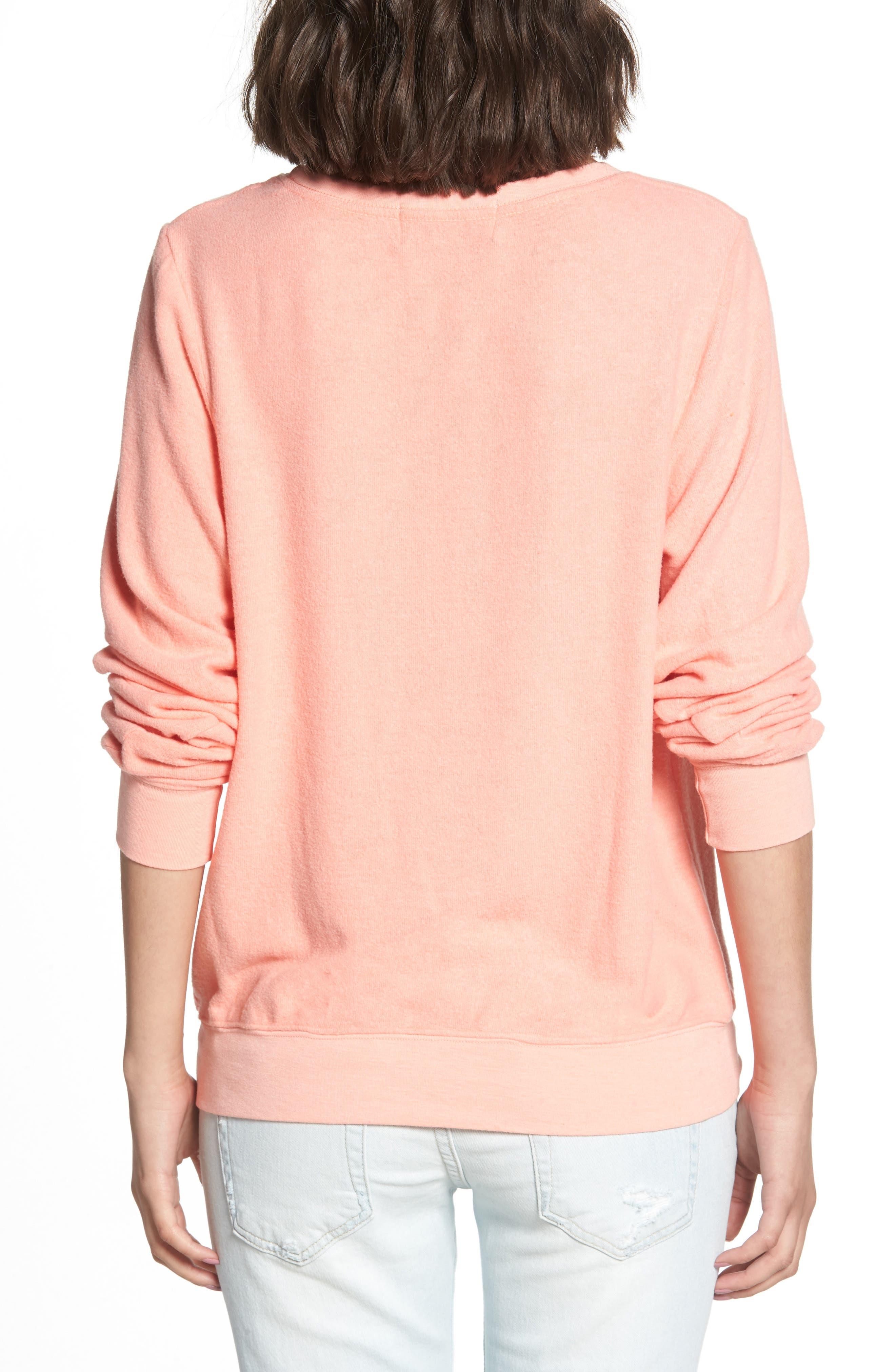 Rosé Glasses Beach Sweatshirt,                             Alternate thumbnail 2, color,                             Coral