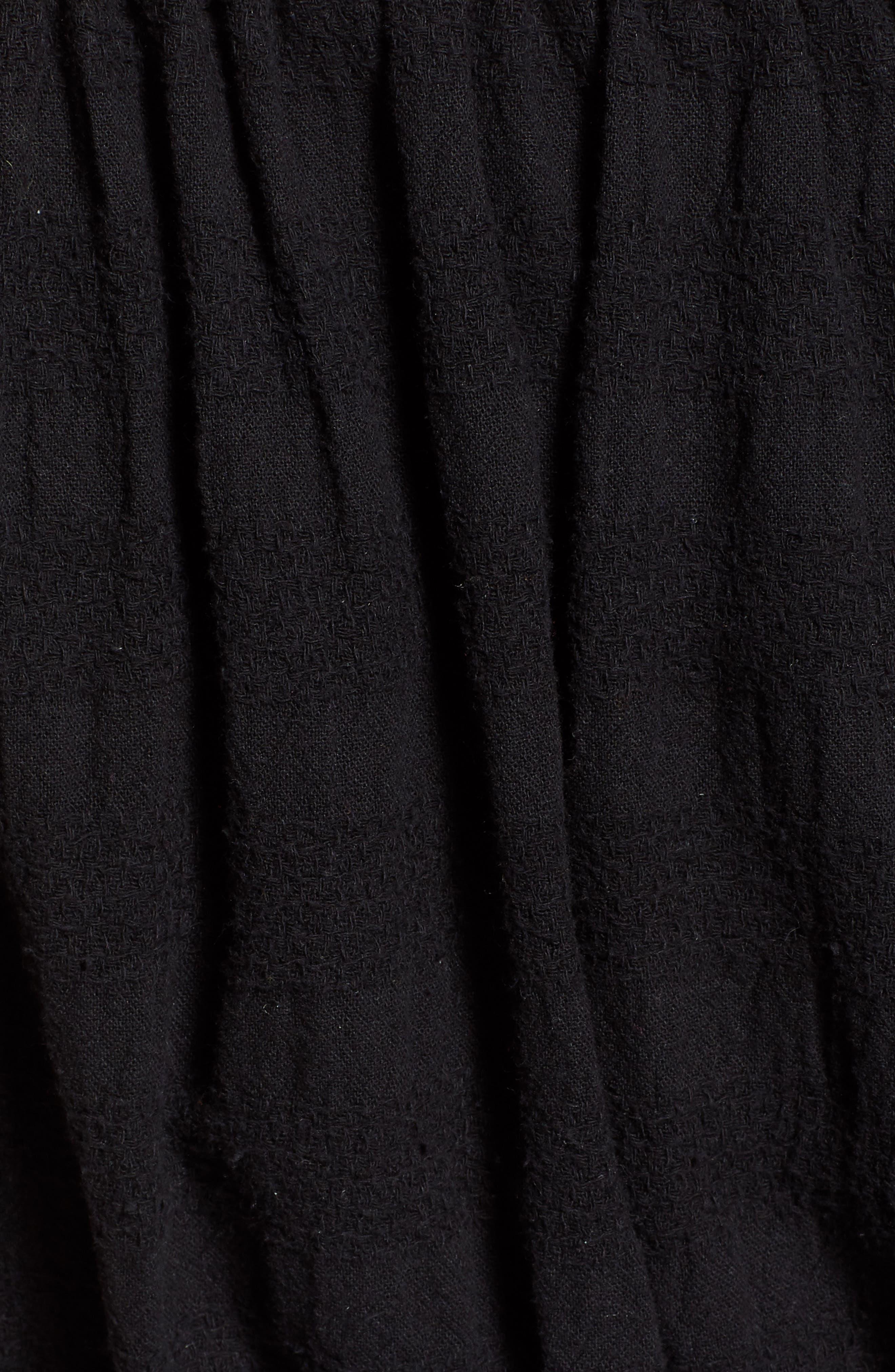 Pompom Off the Shoulder Top,                             Alternate thumbnail 6, color,                             Black
