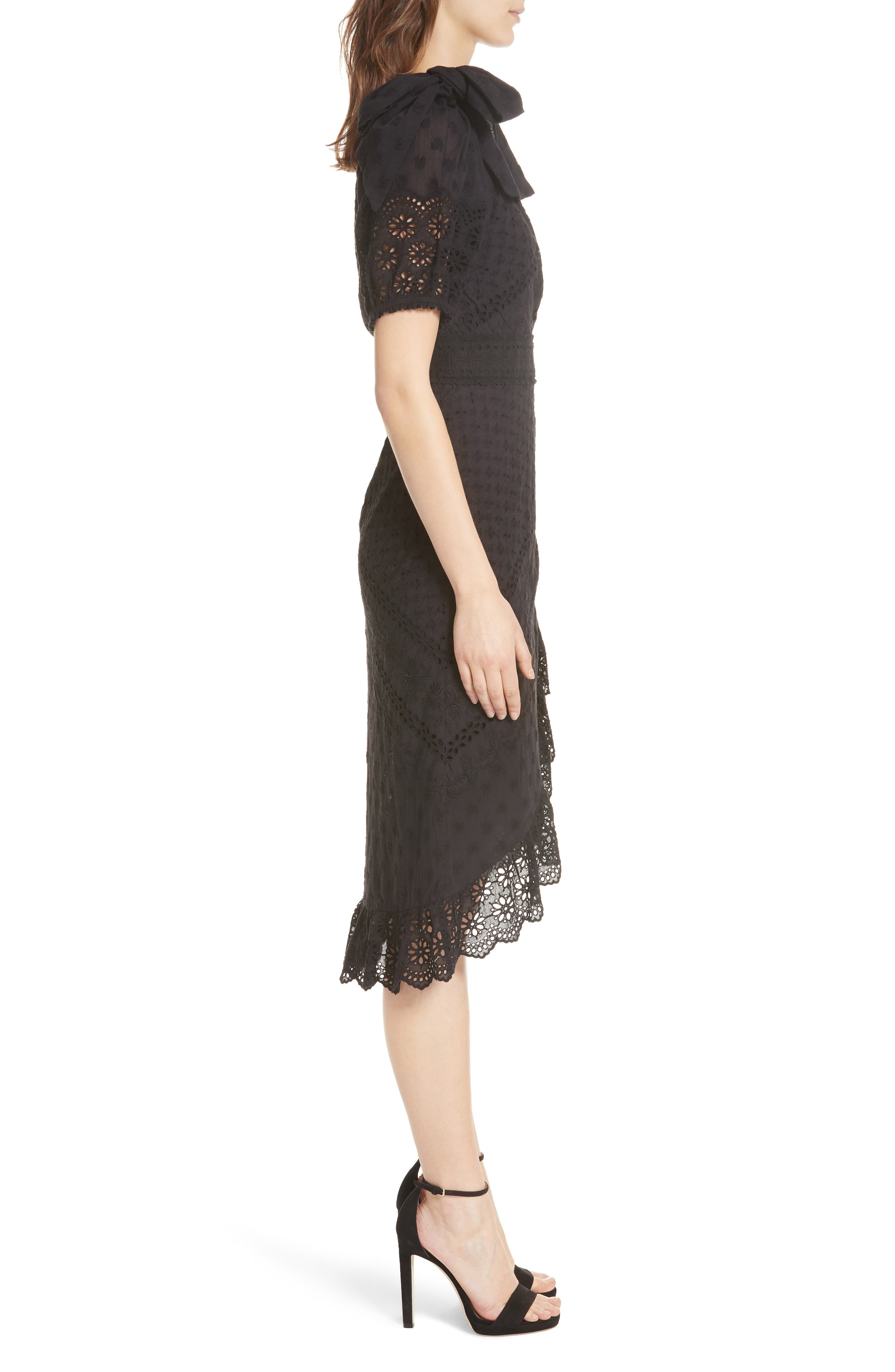 Gweneth One-Shoulder Dress,                             Alternate thumbnail 3, color,                             Noir