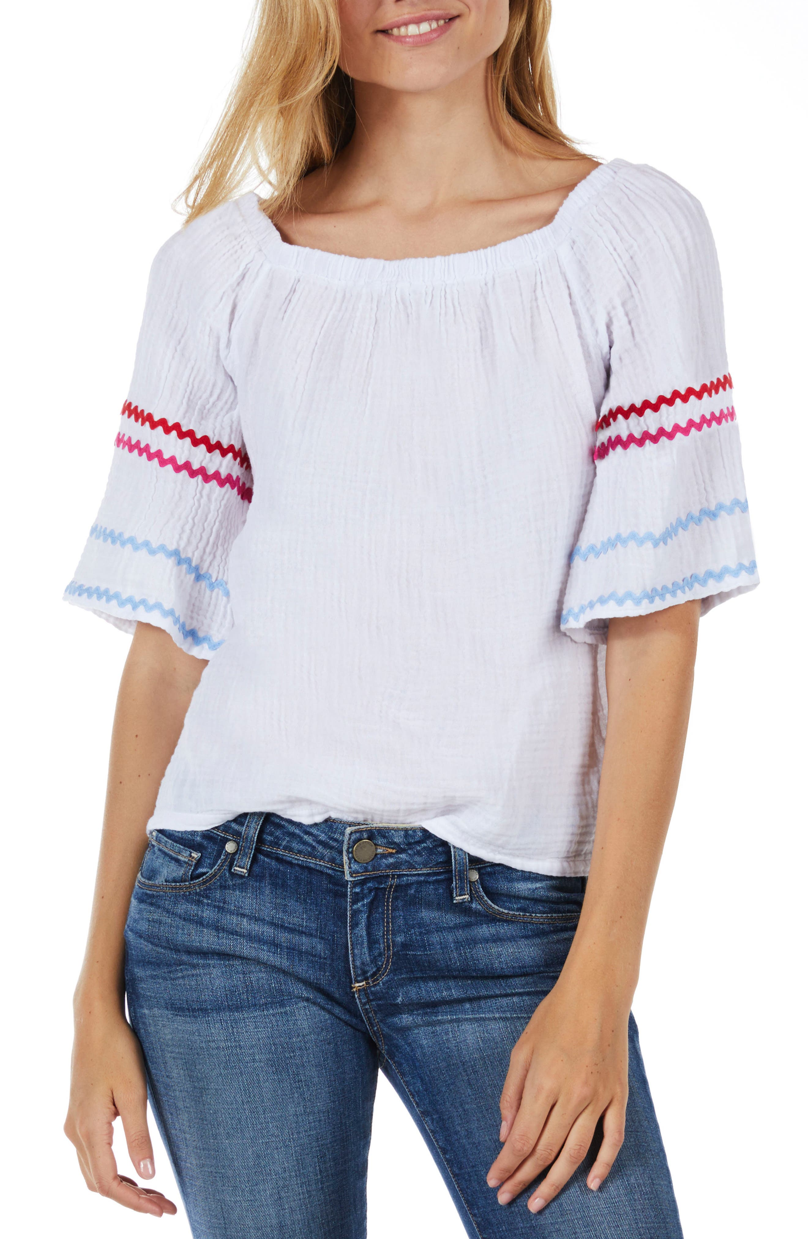 Off the Shoulder Top,                             Main thumbnail 1, color,                             White