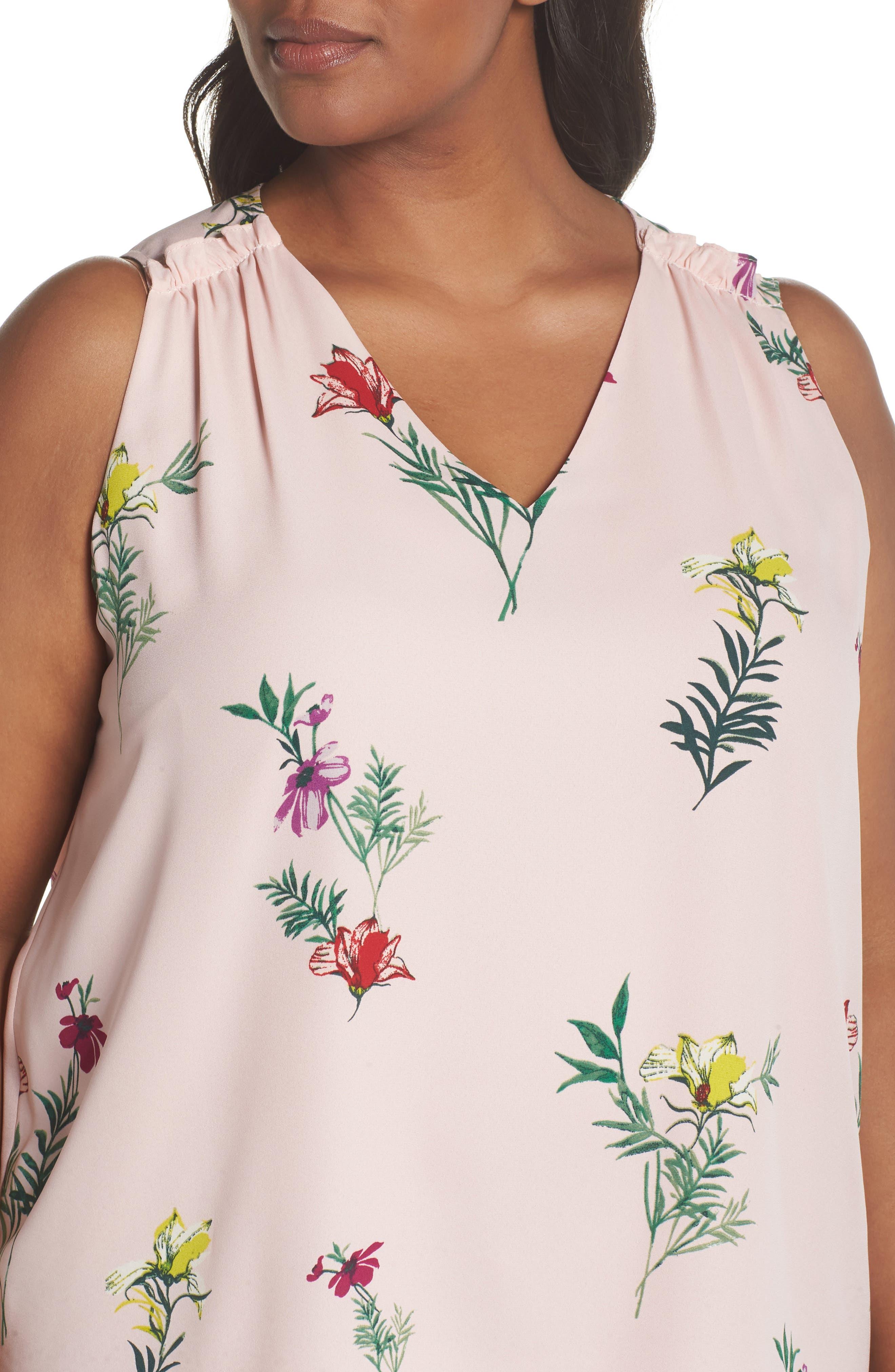 Tropical Garden Bouquet Top,                             Alternate thumbnail 4, color,                             Eden Pink