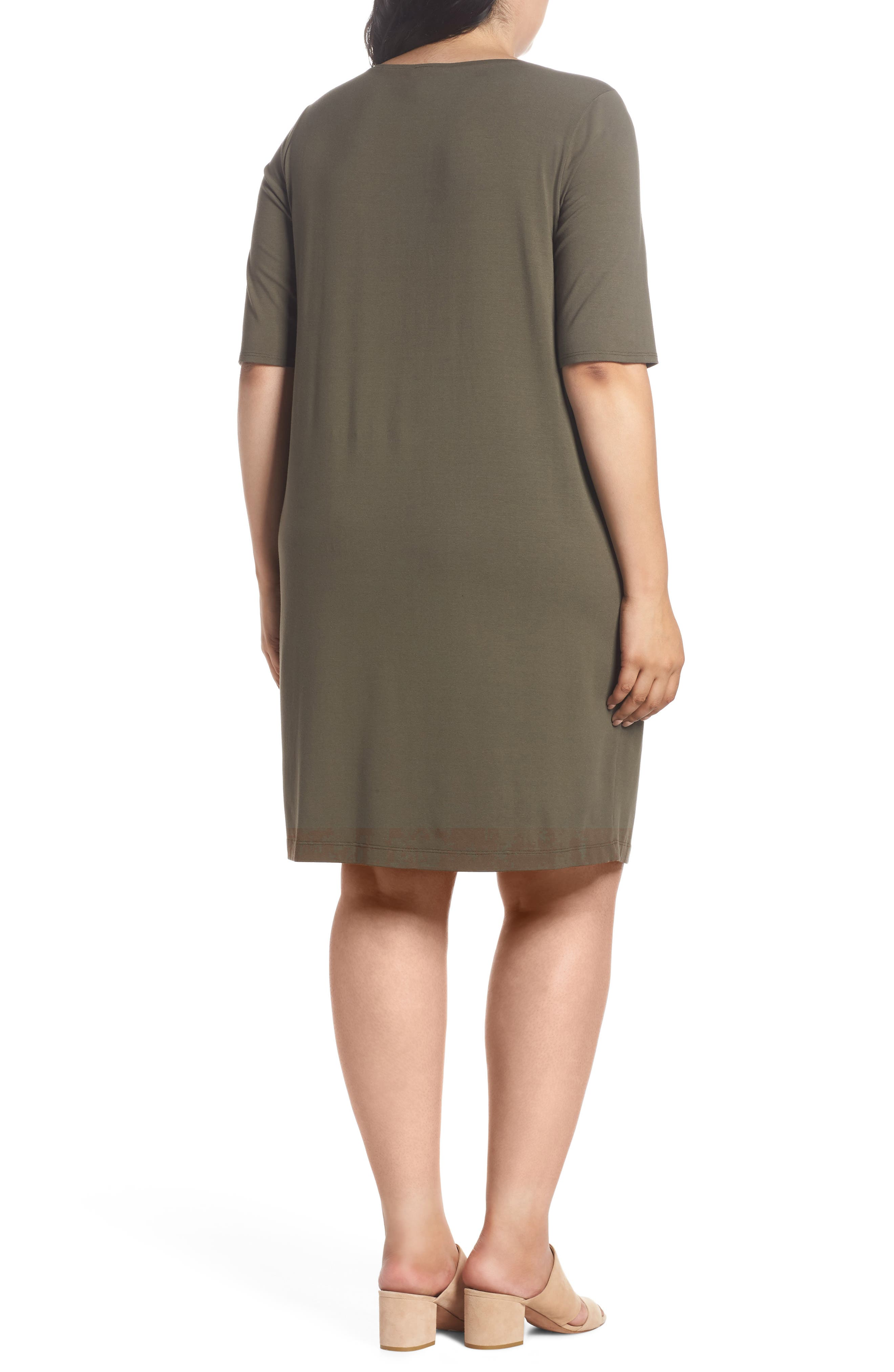 V-Neck Stretch Jersey Shift Dress,                             Alternate thumbnail 2, color,                             Orega
