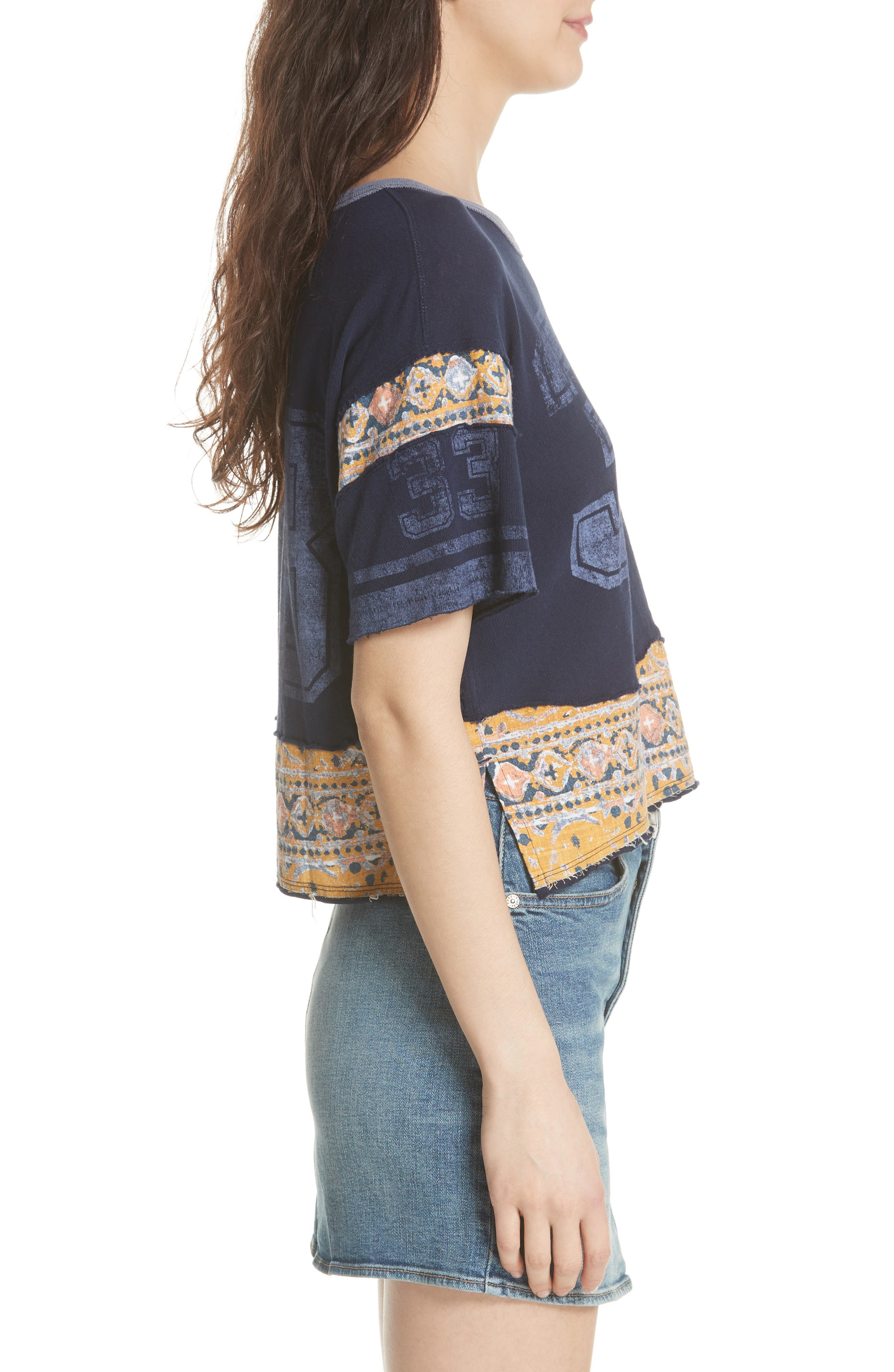Nicky Crop Tee,                             Alternate thumbnail 3, color,                             Blue Combo