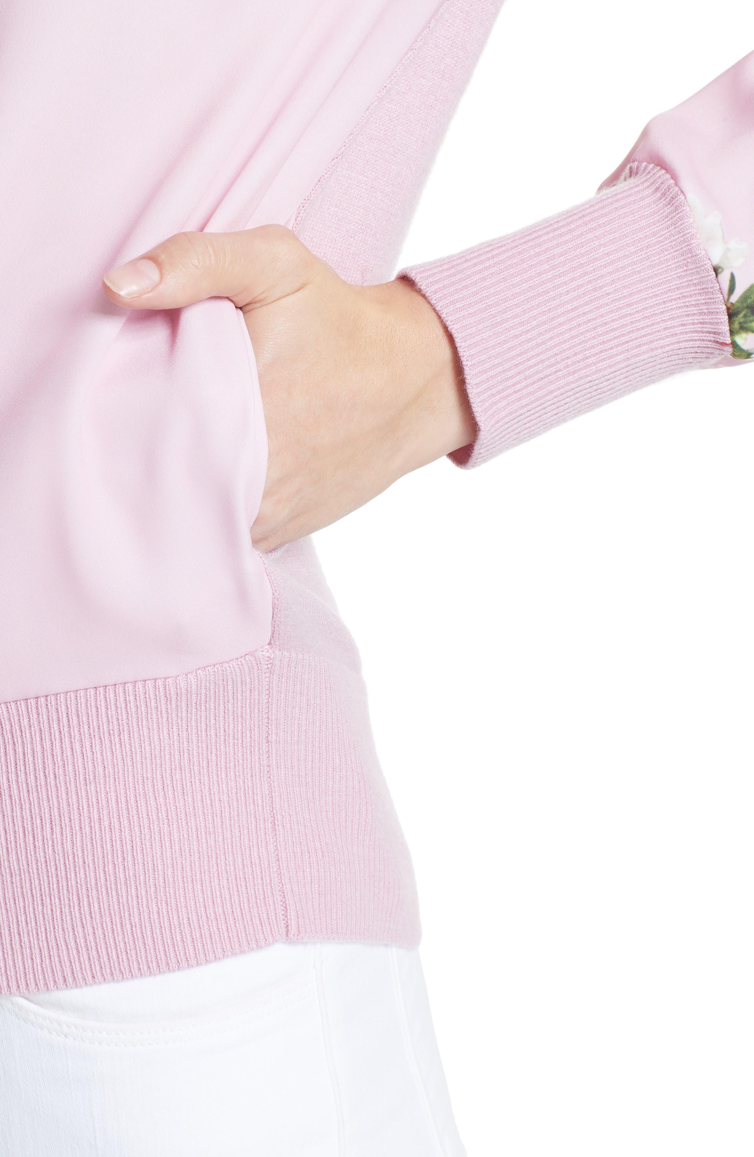 Emylou Harmony Bomber Jacket,                             Alternate thumbnail 4, color,                             Pale Pink