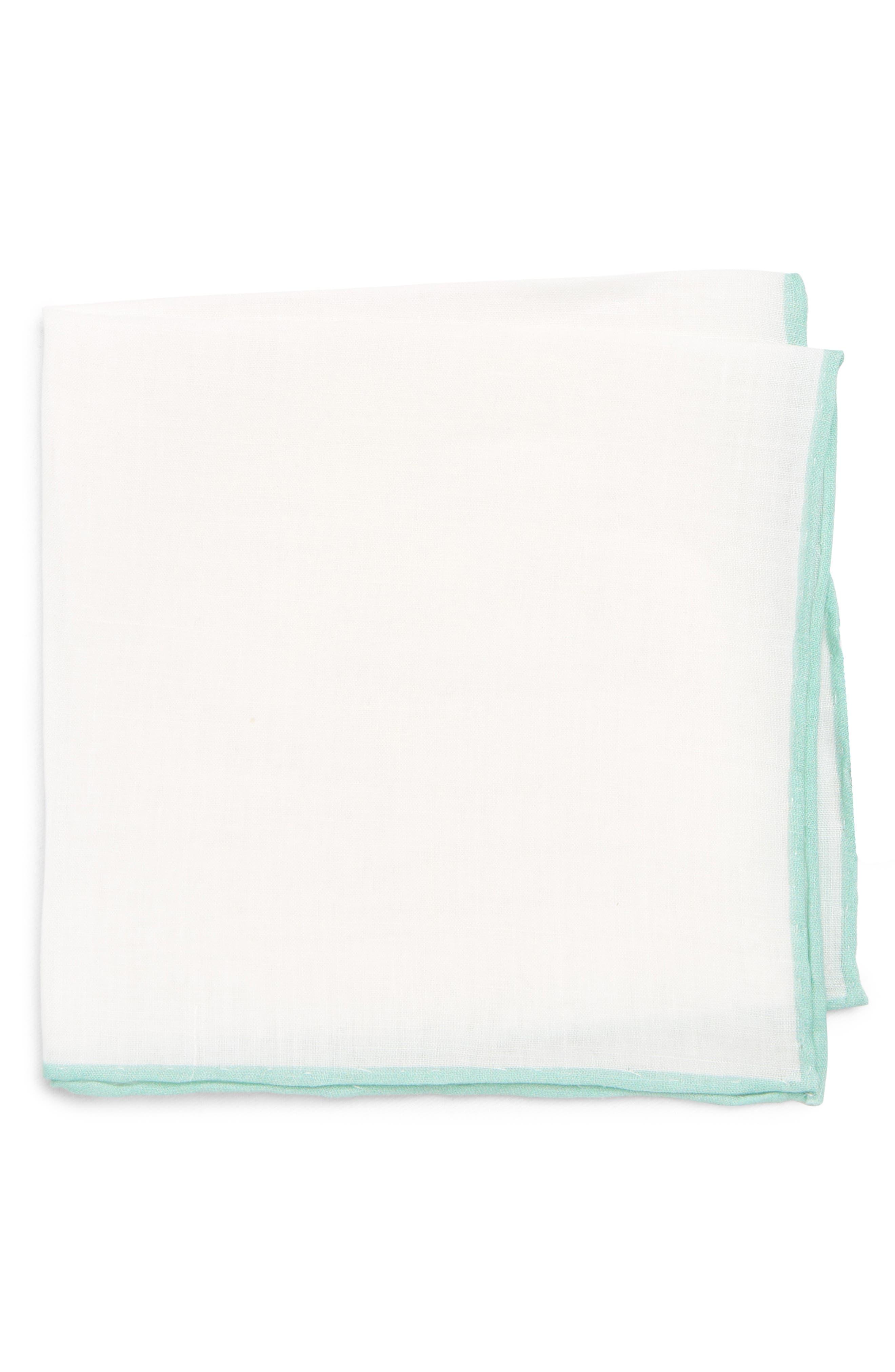 Linen Pocket Square,                         Main,                         color, White/ Spearmint