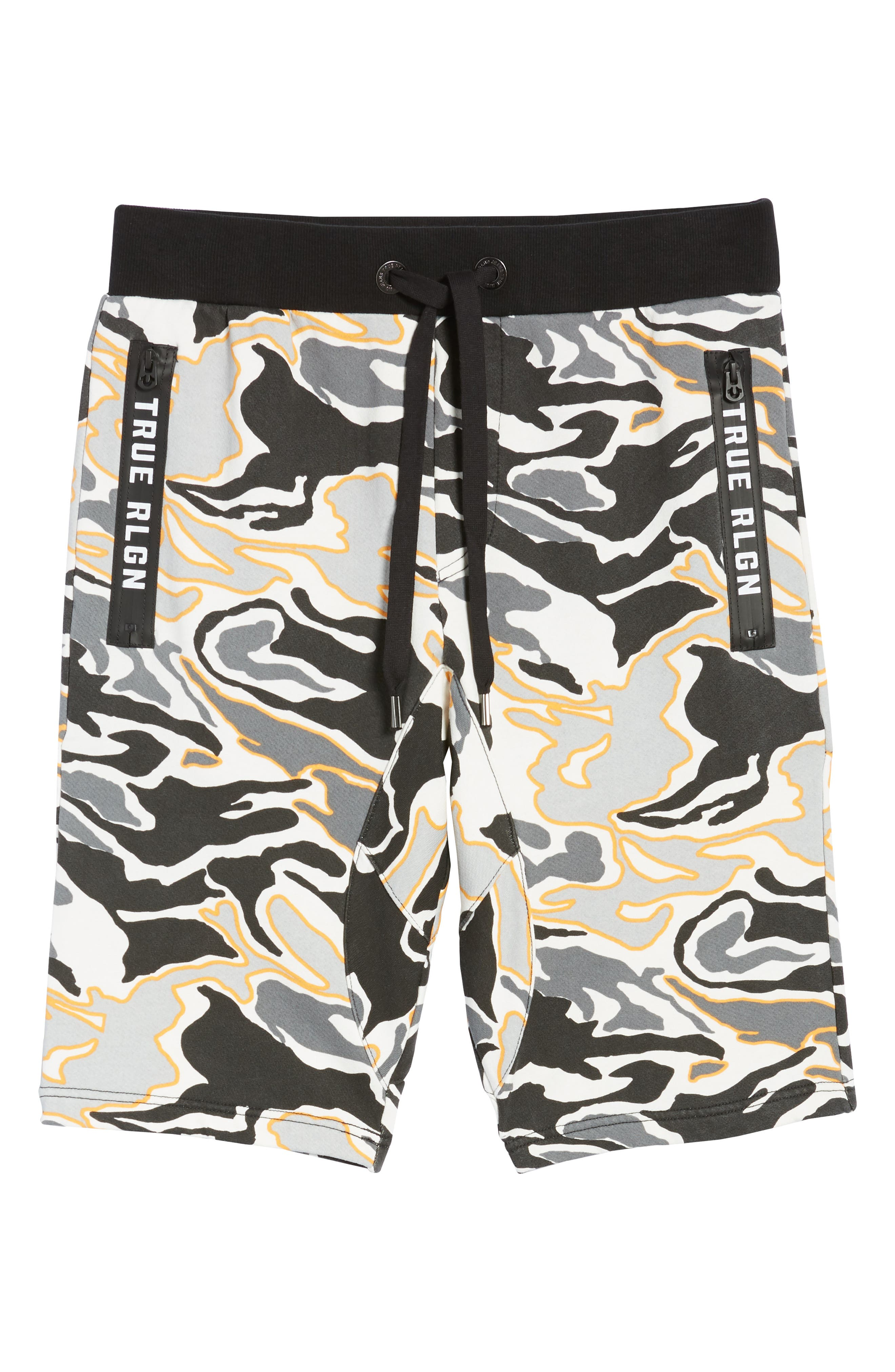Exposed Zip Sweat Shorts,                             Alternate thumbnail 6, color,                             Multi Grey Camo