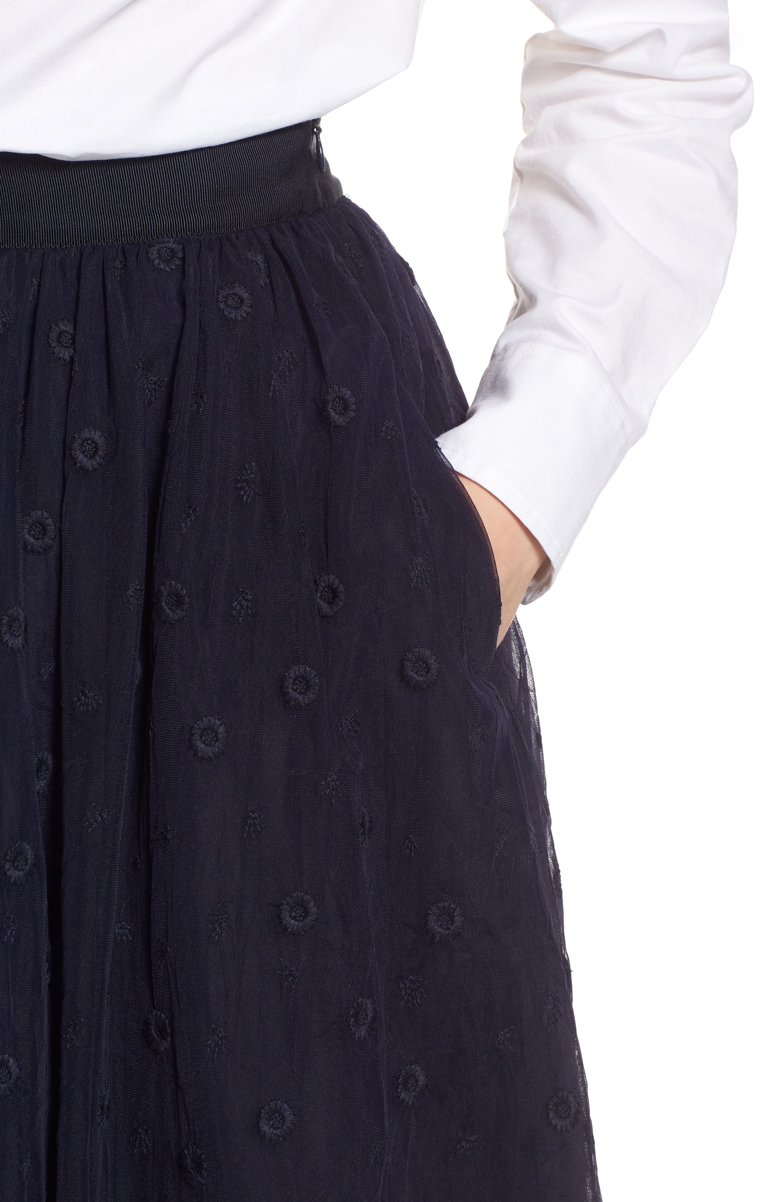 Embroidered Tulle Skirt,                             Alternate thumbnail 4, color,                             Navy Night