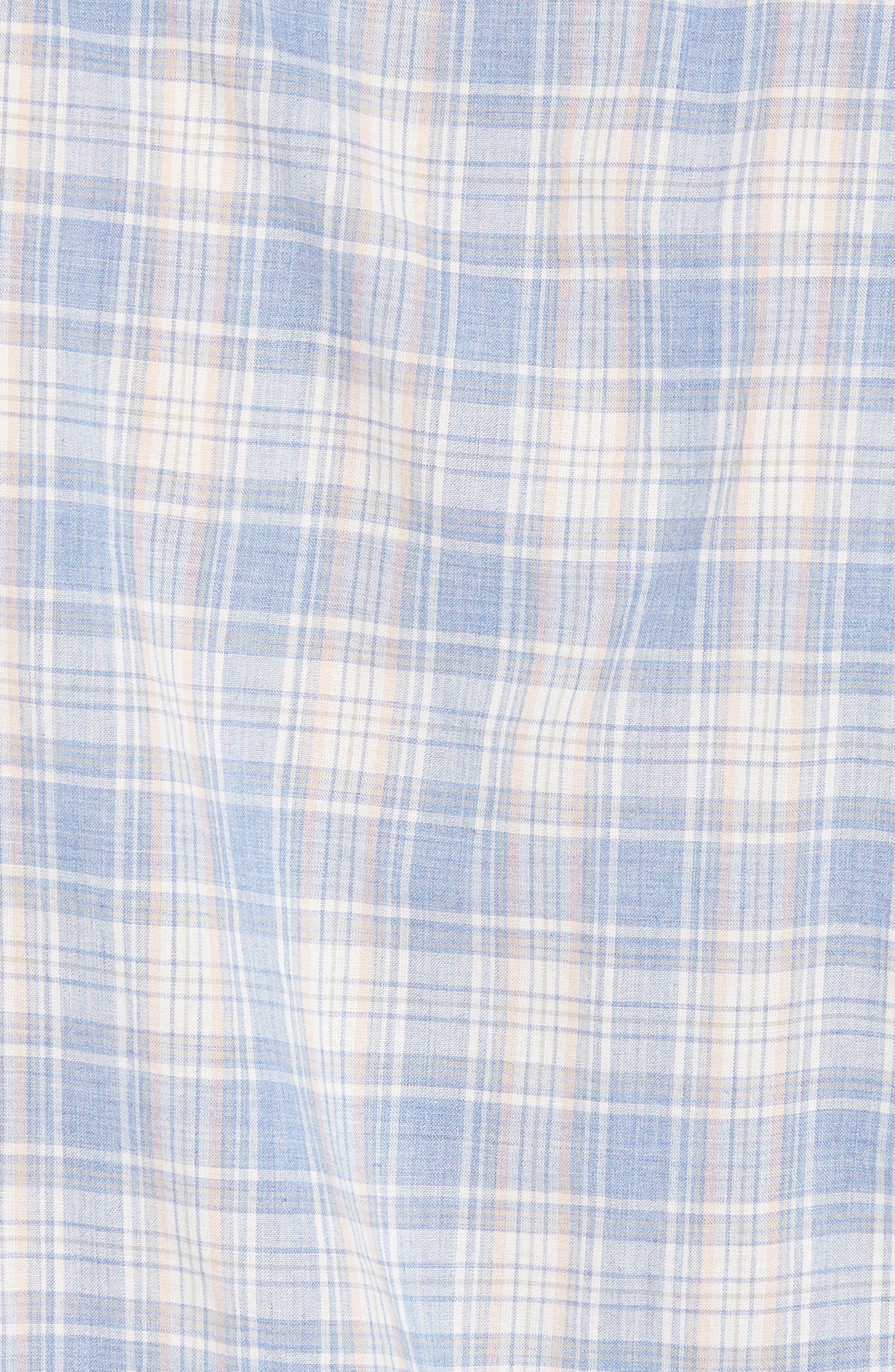 Ventura Plaid Sport Shirt,                             Alternate thumbnail 5, color,                             Blue Coral Grey