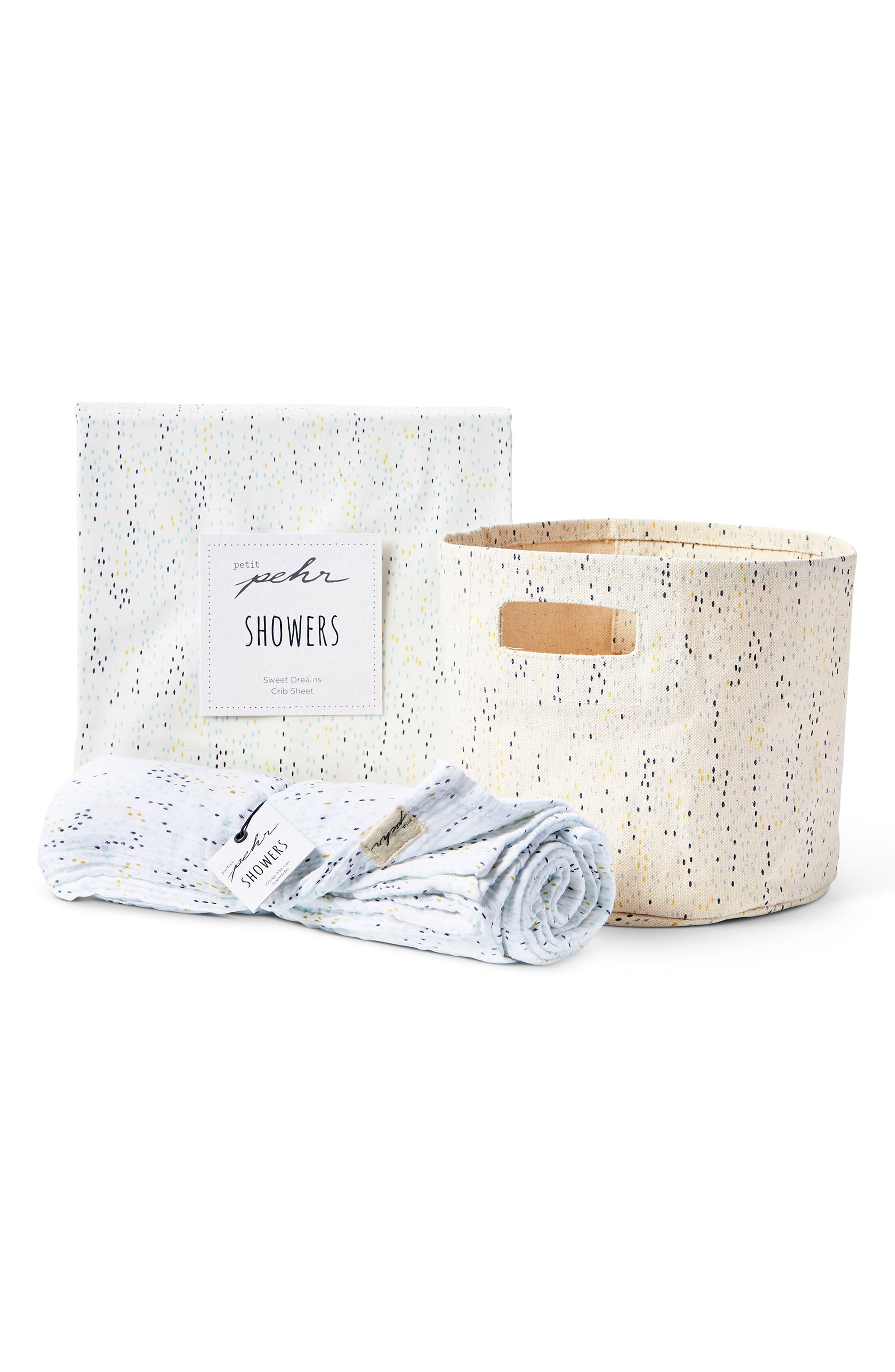 Showers Crib Sheet, Swaddle & Mini Canvas Bin Set,                             Main thumbnail 1, color,                             Blue