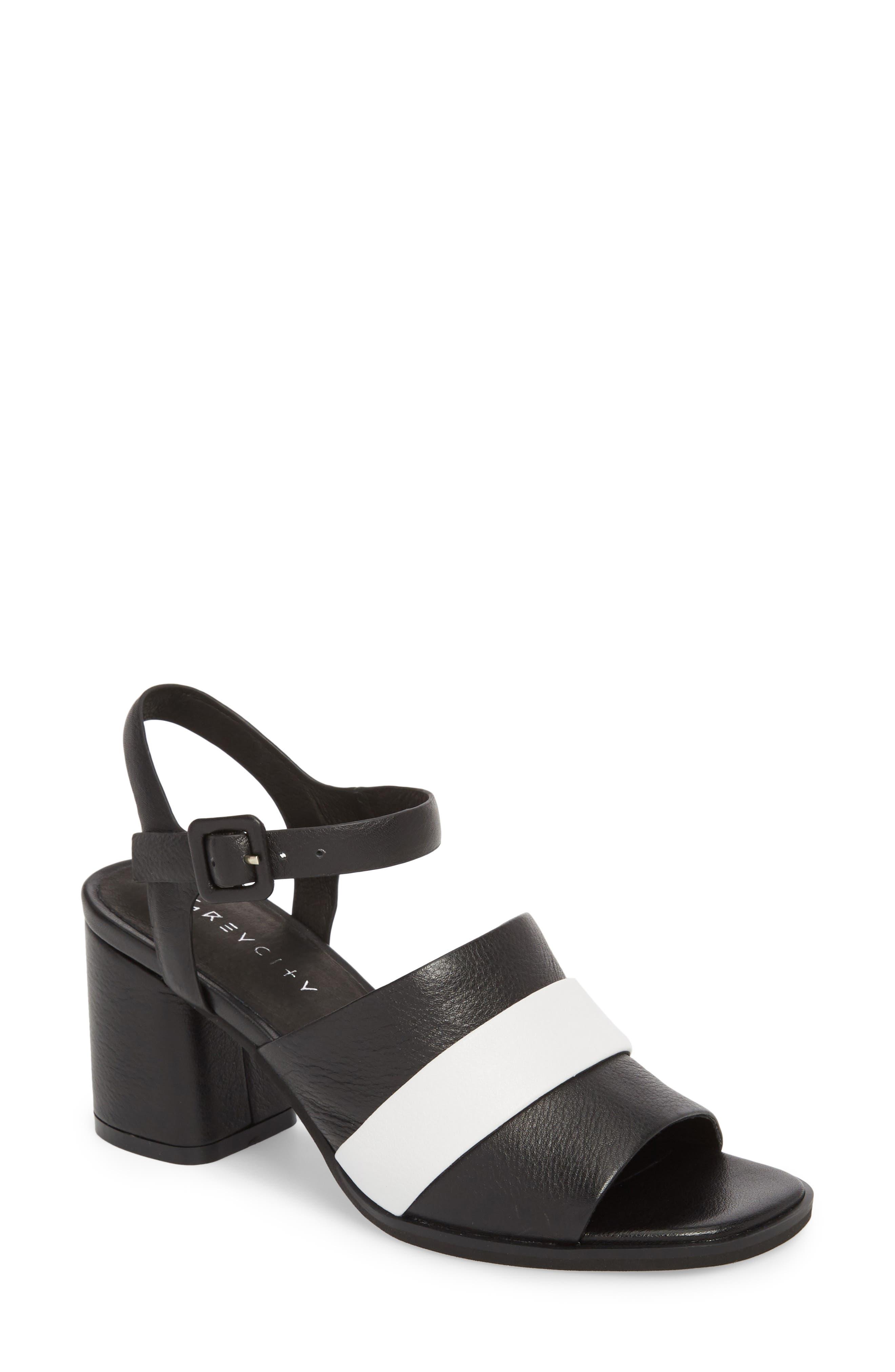 Ren Sandal,                             Main thumbnail 1, color,                             Black/ White