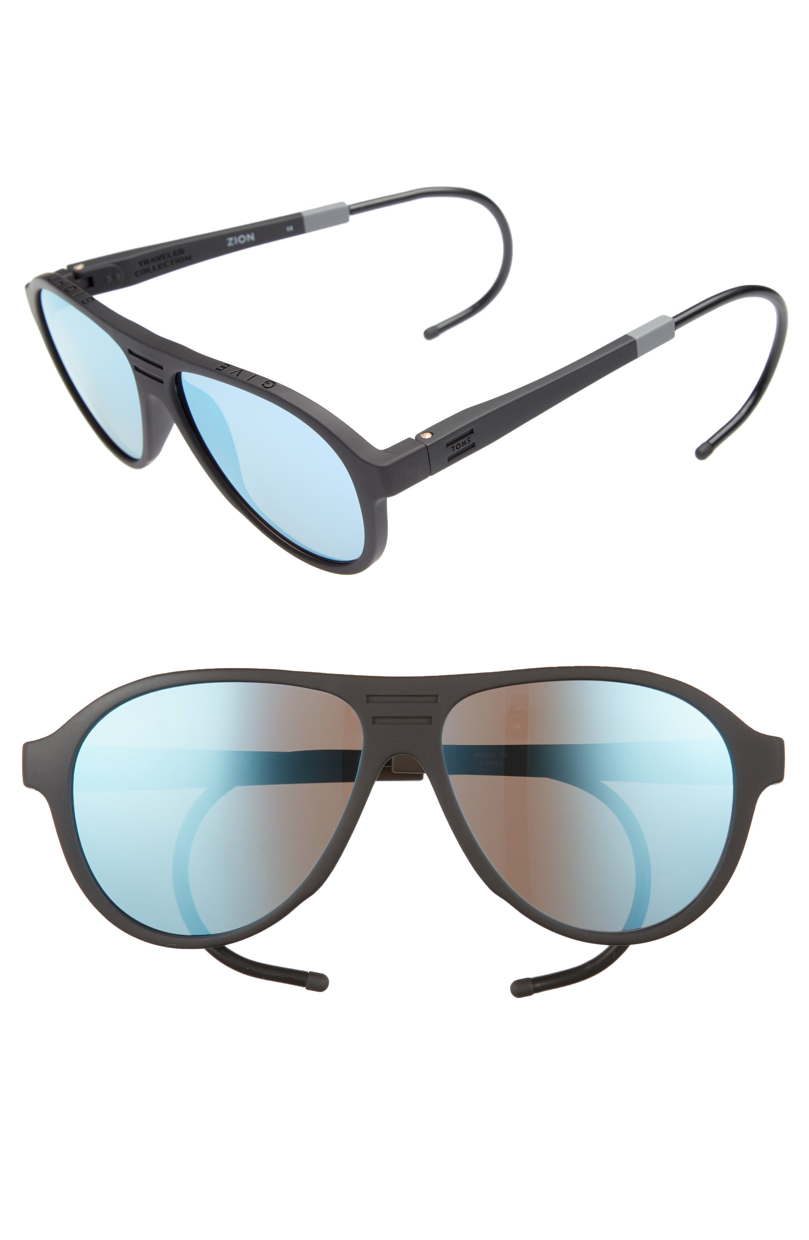 Traveler Zion 58mm Polarized Aviator Sunglasses,                             Main thumbnail 1, color,                             Matte Black/ Blue Mirror