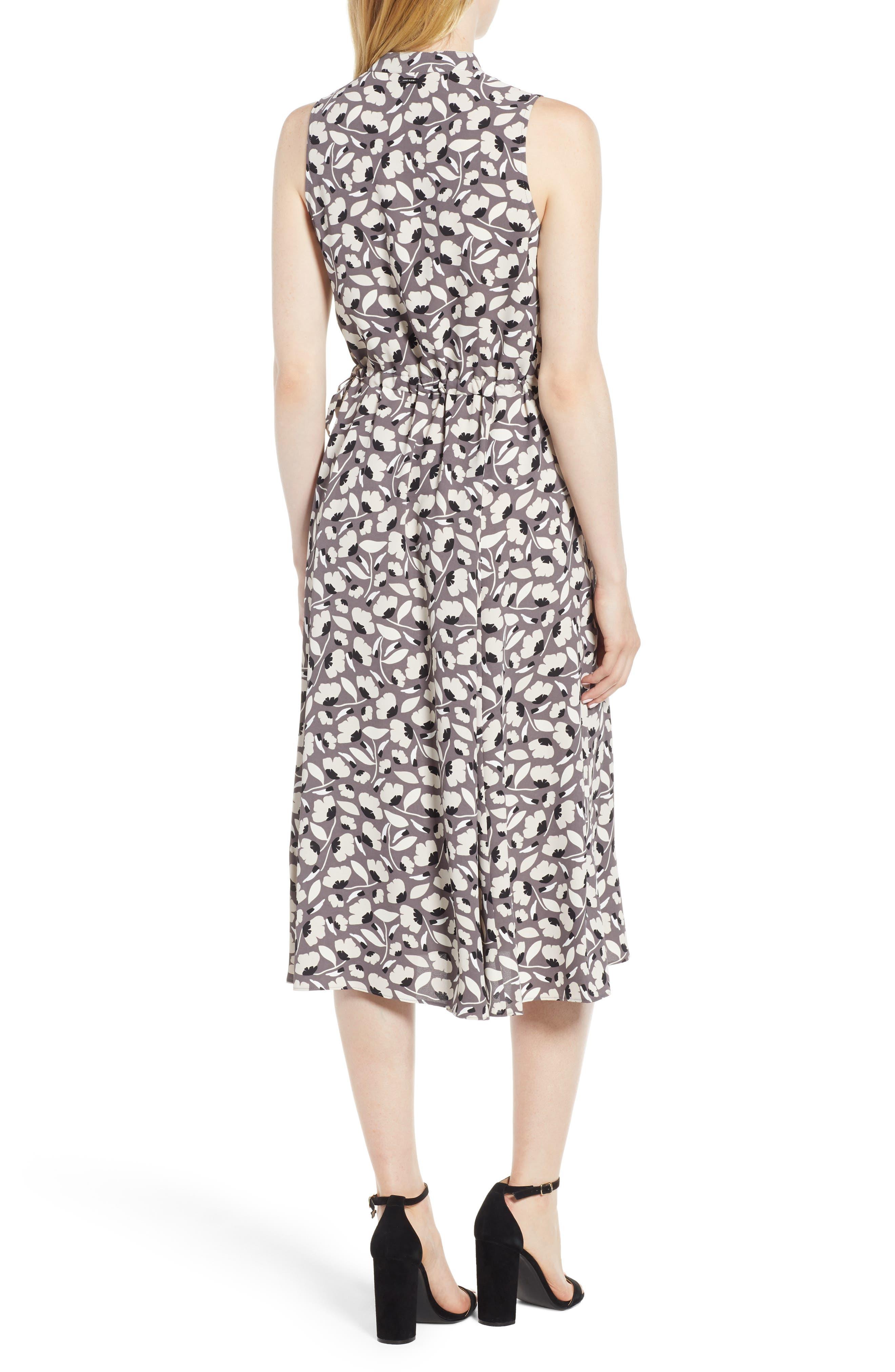 Floral Drawstring Dress,                             Alternate thumbnail 2, color,                             Nantucket Grey/ Oyster Shell