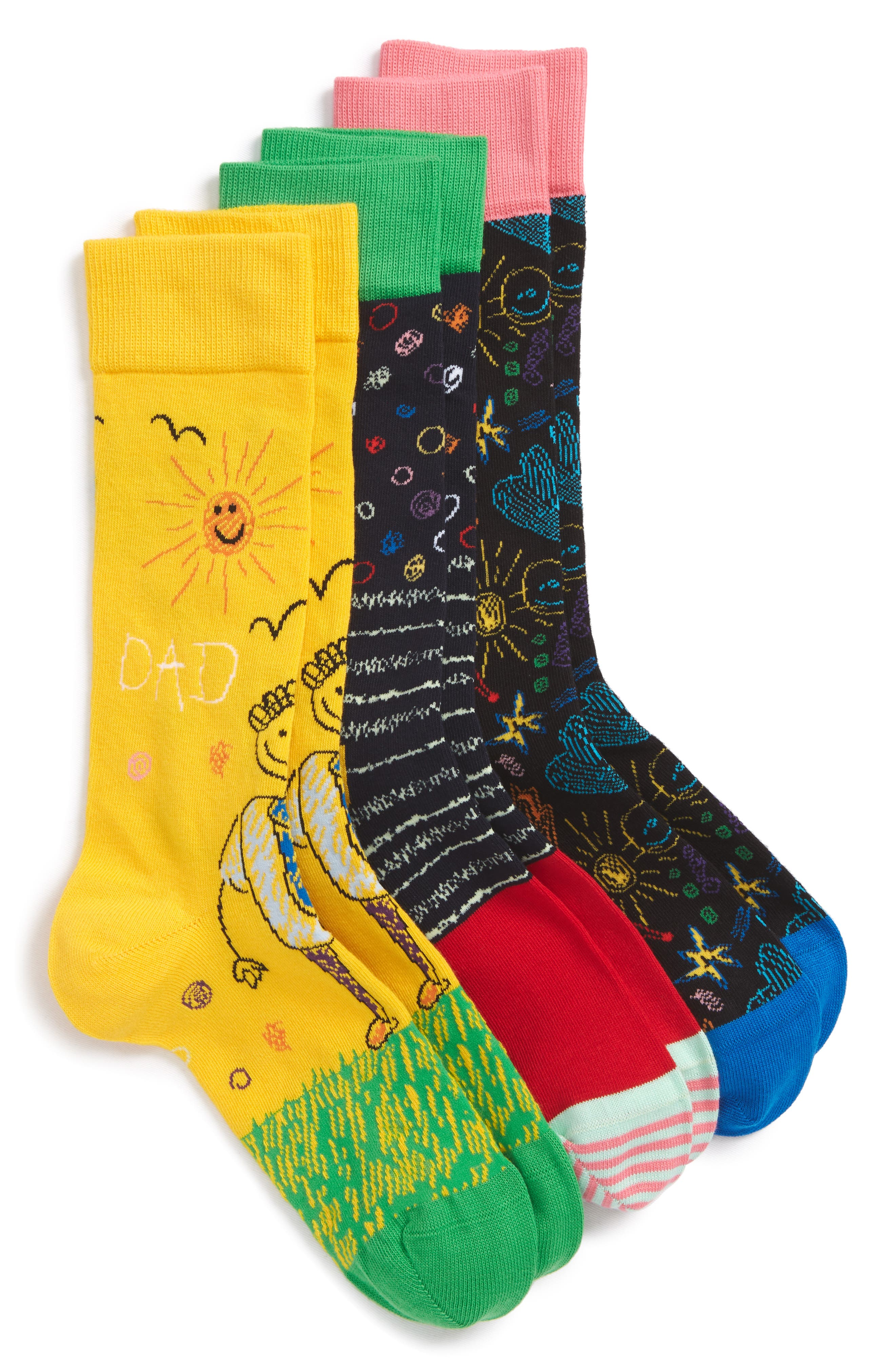 I Love You Dad 3-Pack Socks,                             Main thumbnail 1, color,                             Black/ Yellow Multi