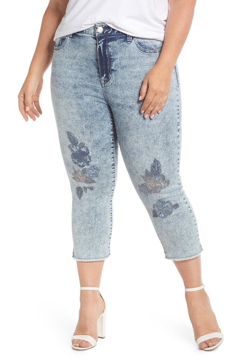 High Waist Crop Embroidered Skinny Jeans