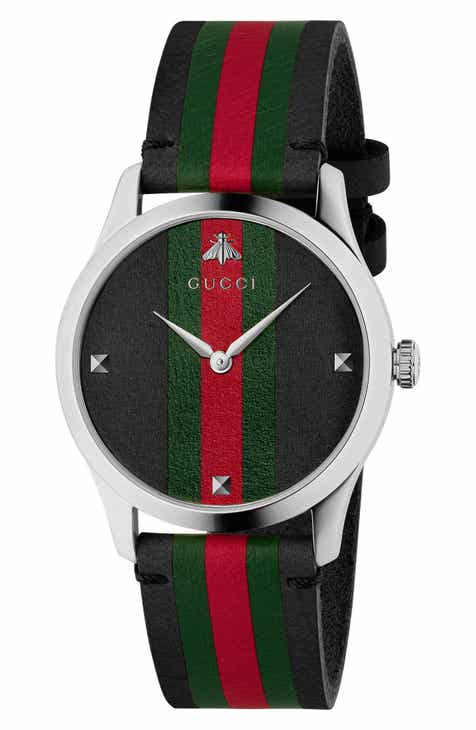 99747085da8 Gucci G-Timeless Leather Strap Watch