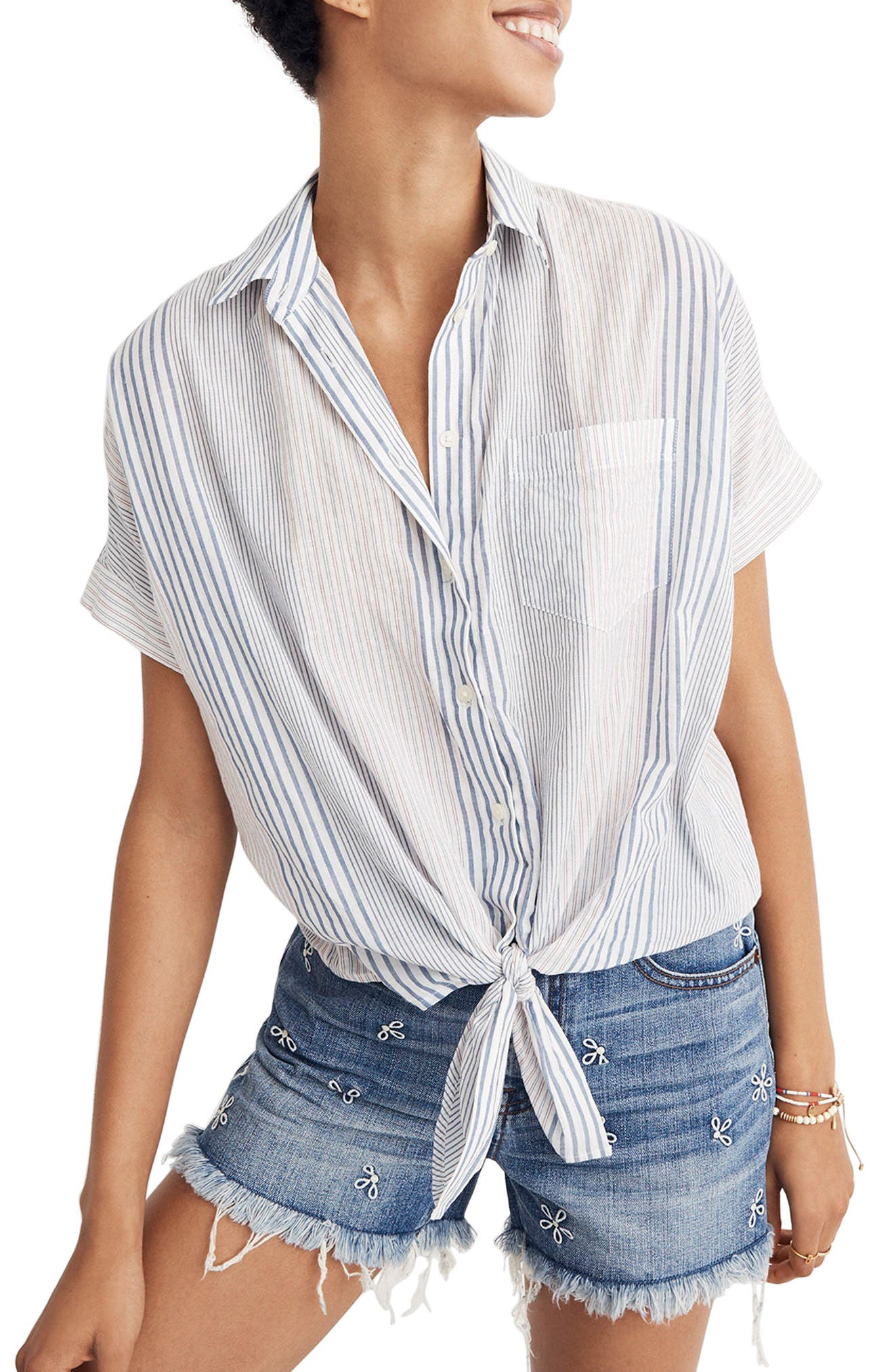 Stripe Tie Front Short Sleeve Shirt,                         Main,                         color, Tulum Blue