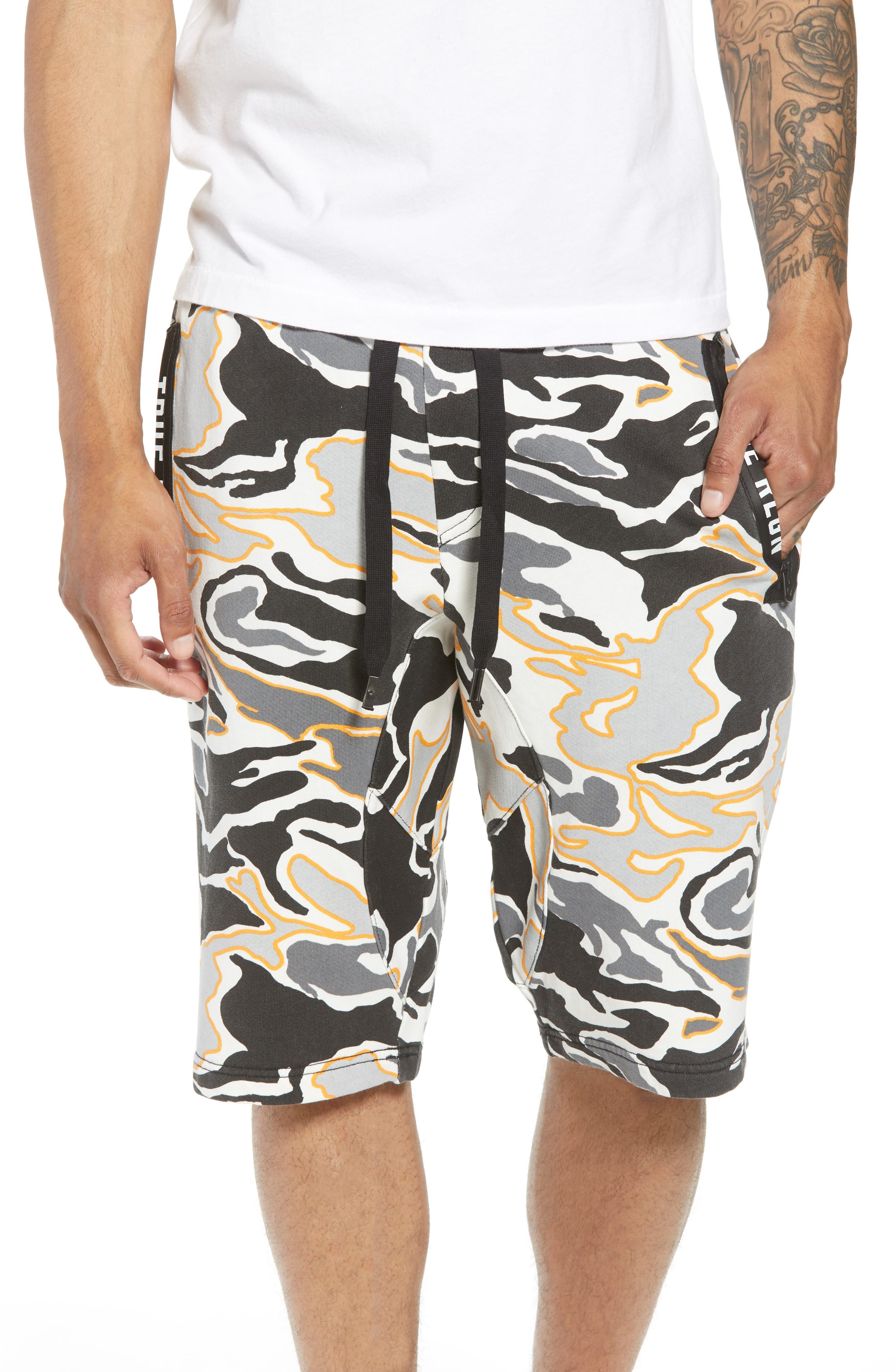 Exposed Zip Sweat Shorts,                             Main thumbnail 1, color,                             Multi Grey Camo