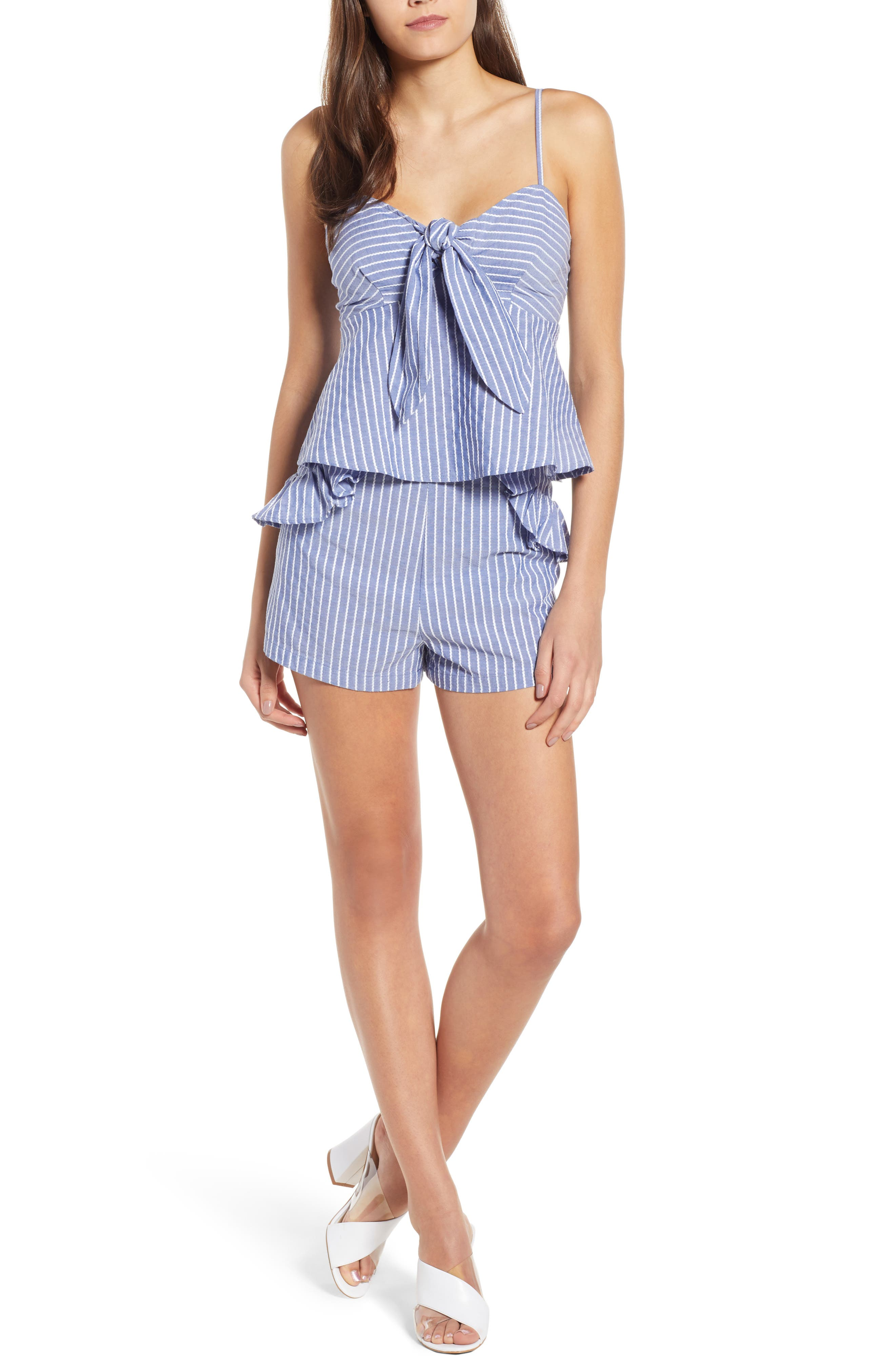 Parcel Ruffle Detail Shorts,                             Alternate thumbnail 6, color,                             Blue With White