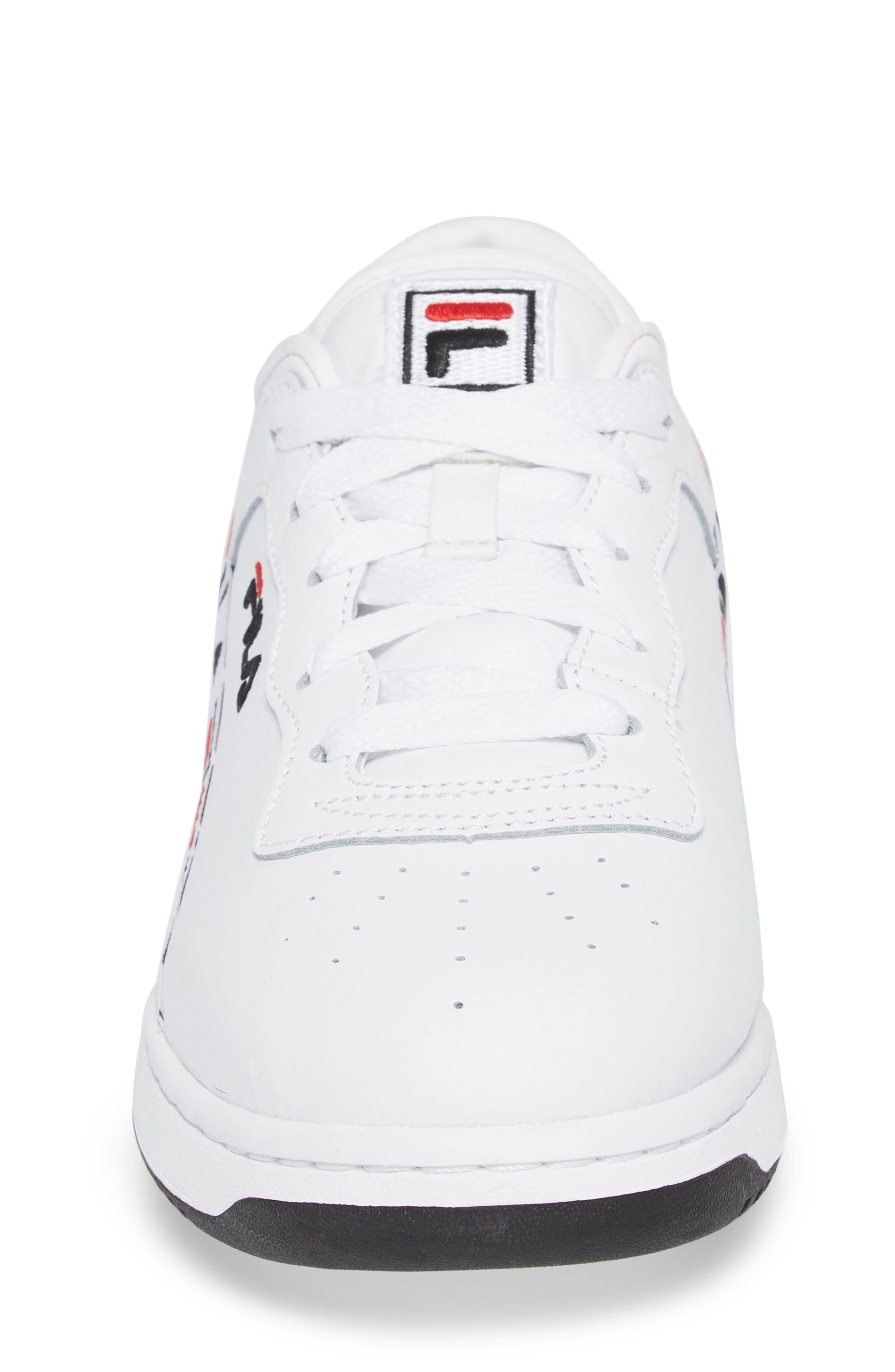 Original Fitness Logo Tape Sneaker,                             Alternate thumbnail 4, color,                             White/ Black/ Fila Red