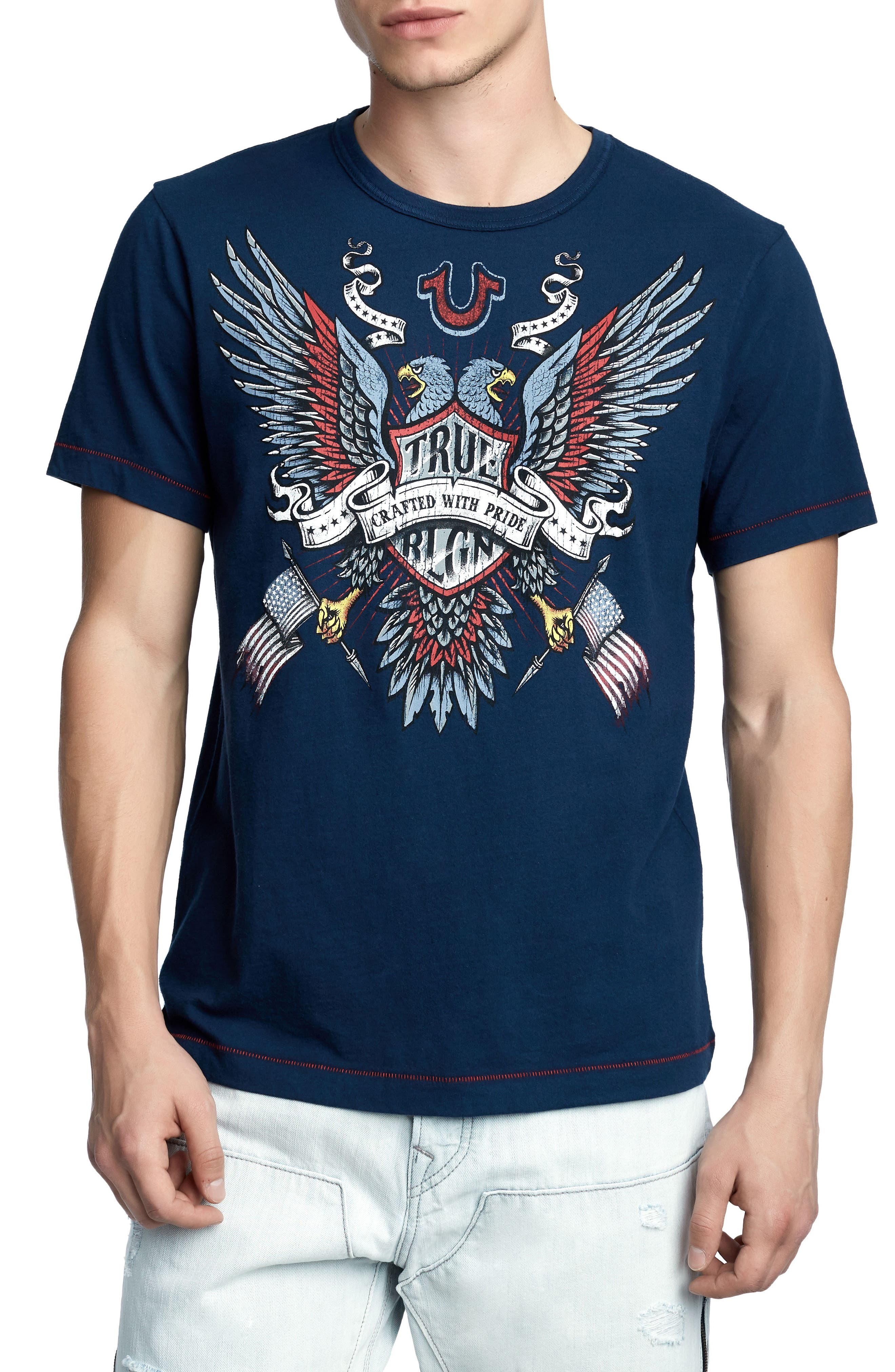 Crafted Eagle T-Shirt,                         Main,                         color, Ace Blue