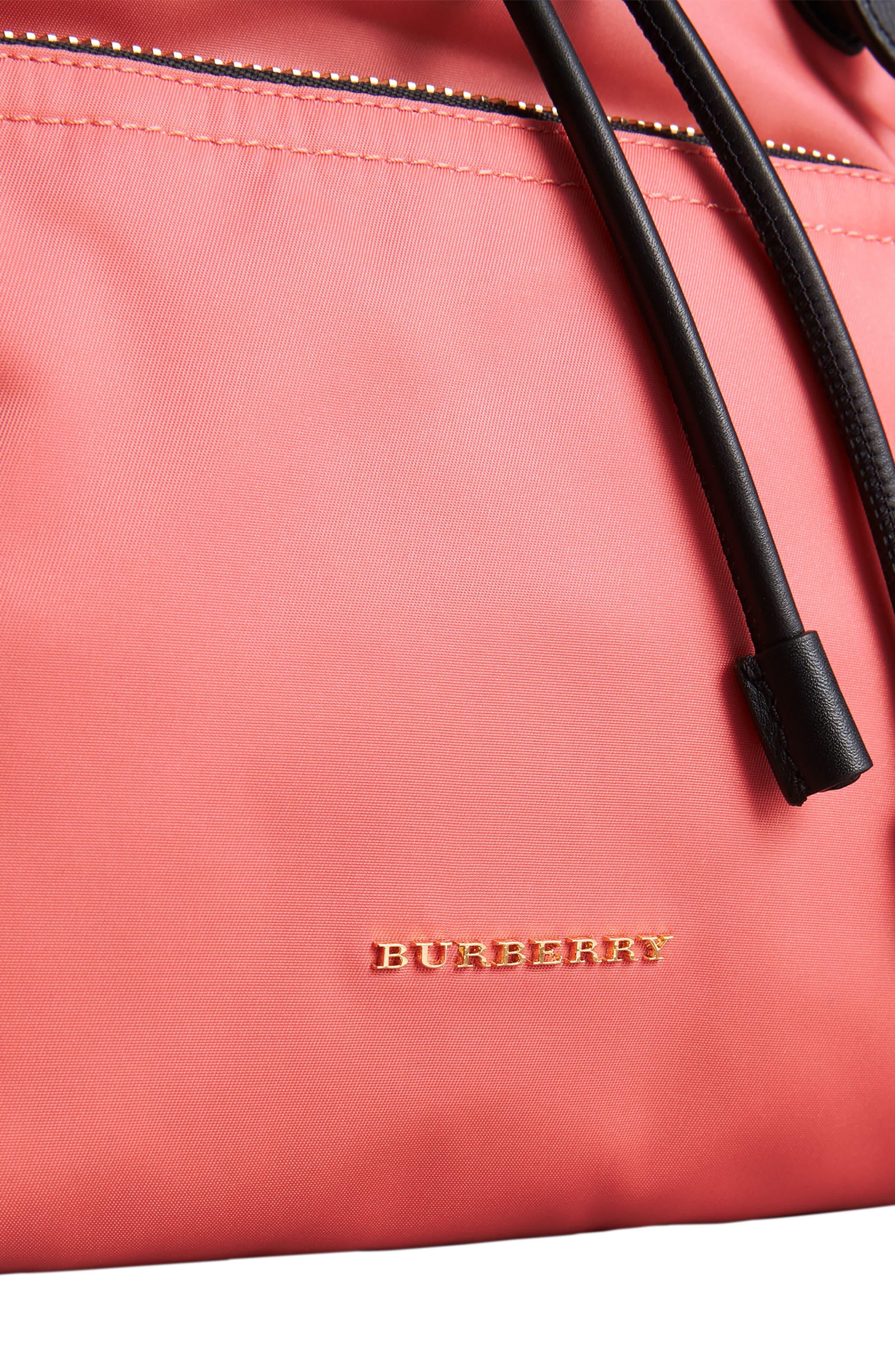 Medium Rucksack Nylon Backpack,                             Alternate thumbnail 4, color,                             Bright Coral Pink