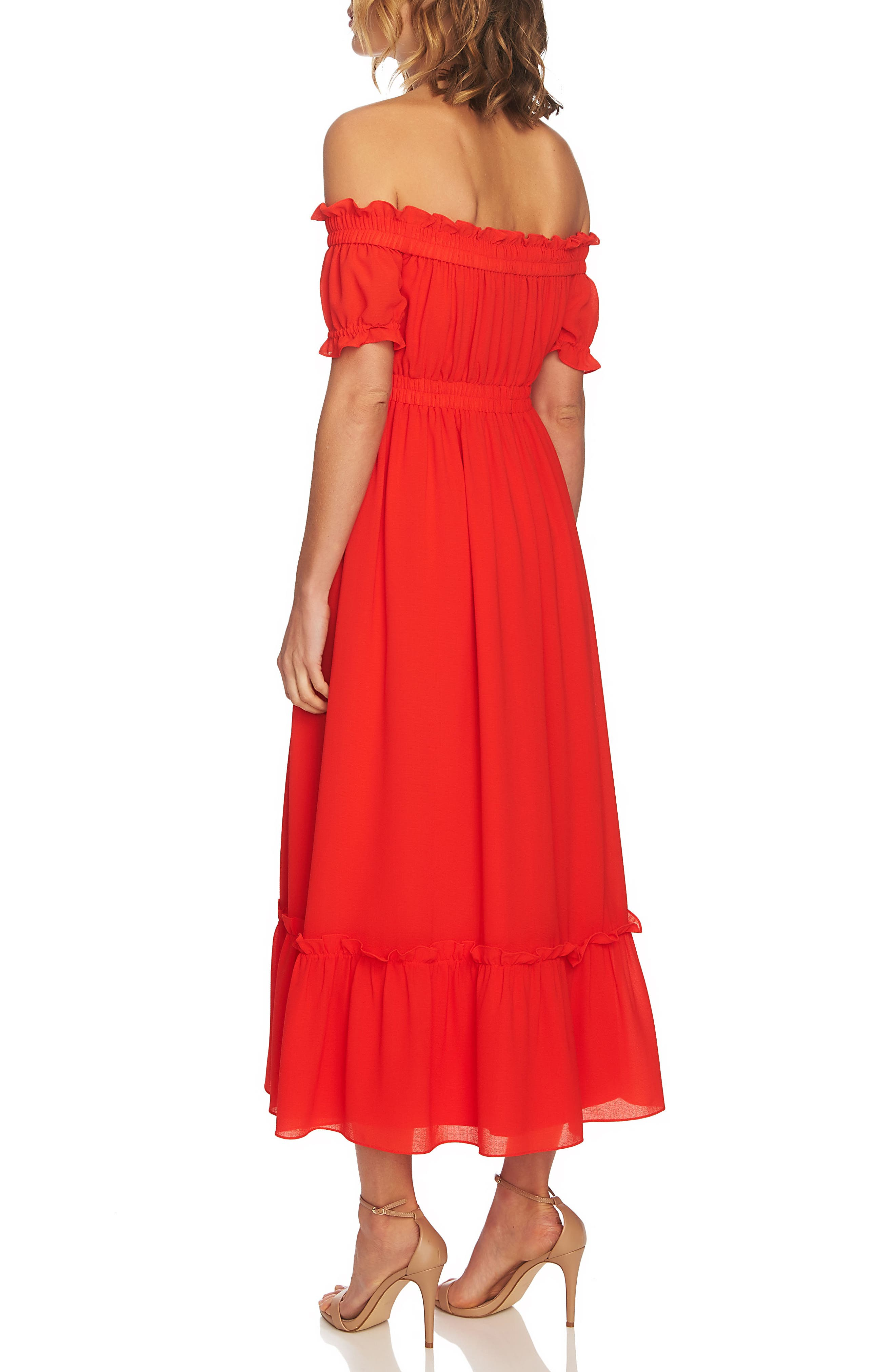 Vivian Off the Shoulder Smocked Maxi Dress,                             Alternate thumbnail 2, color,                             Red Hot