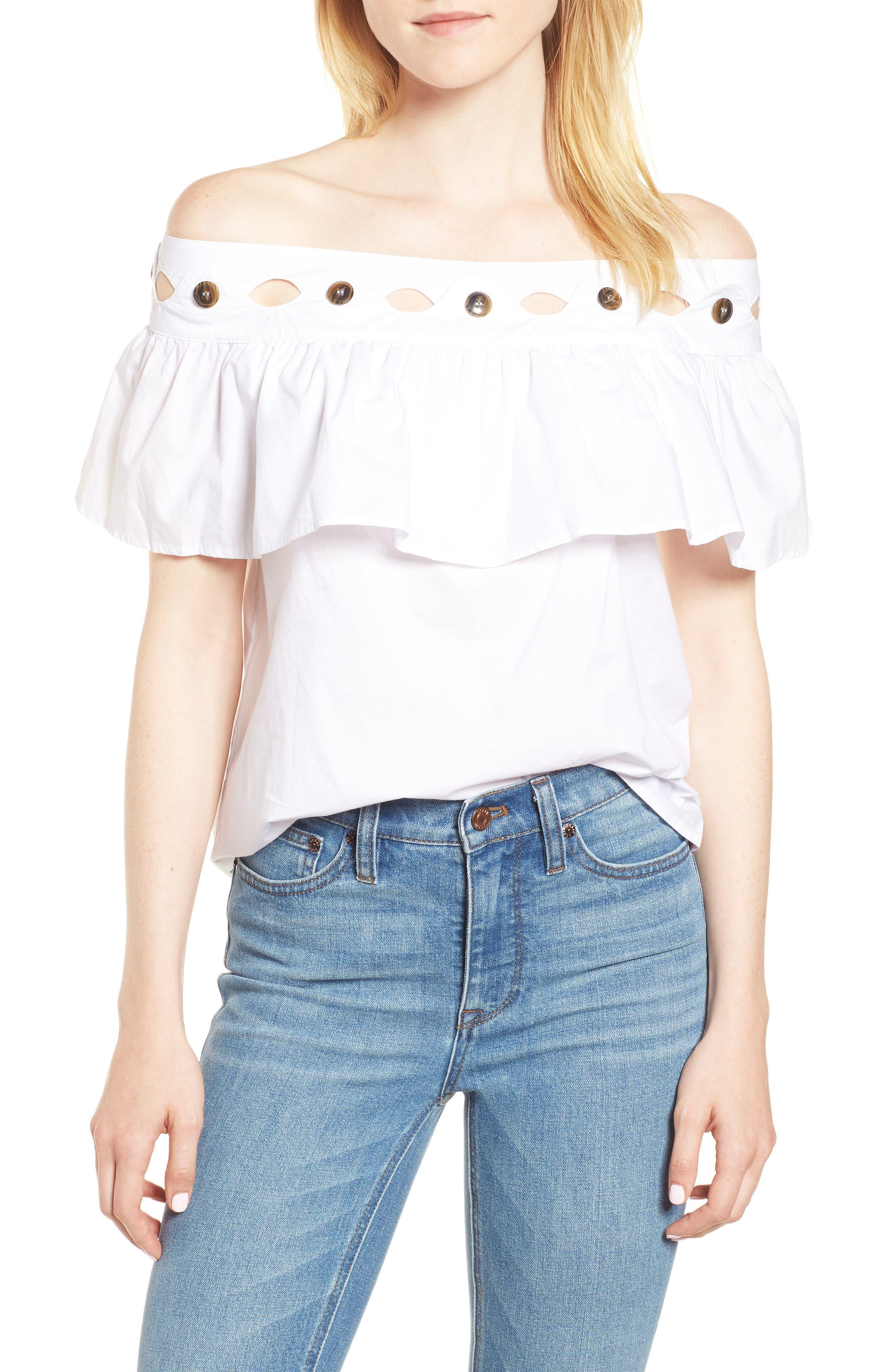 Hoax Off the Shoulder Cotton Poplin Top,                         Main,                         color, White