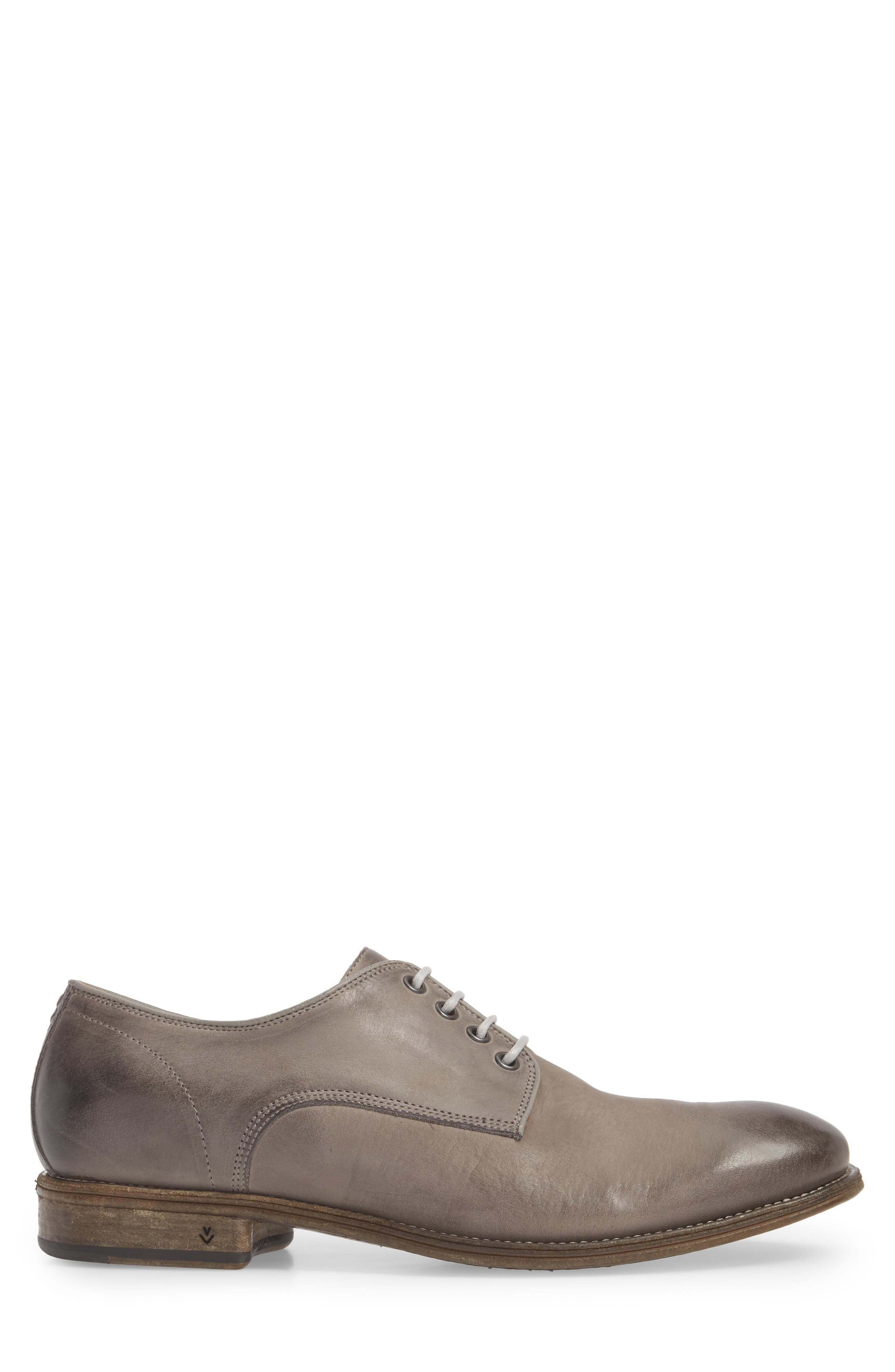 John Varvatos Stanton Plain Toe Derby,                             Alternate thumbnail 3, color,                             Ash Leather