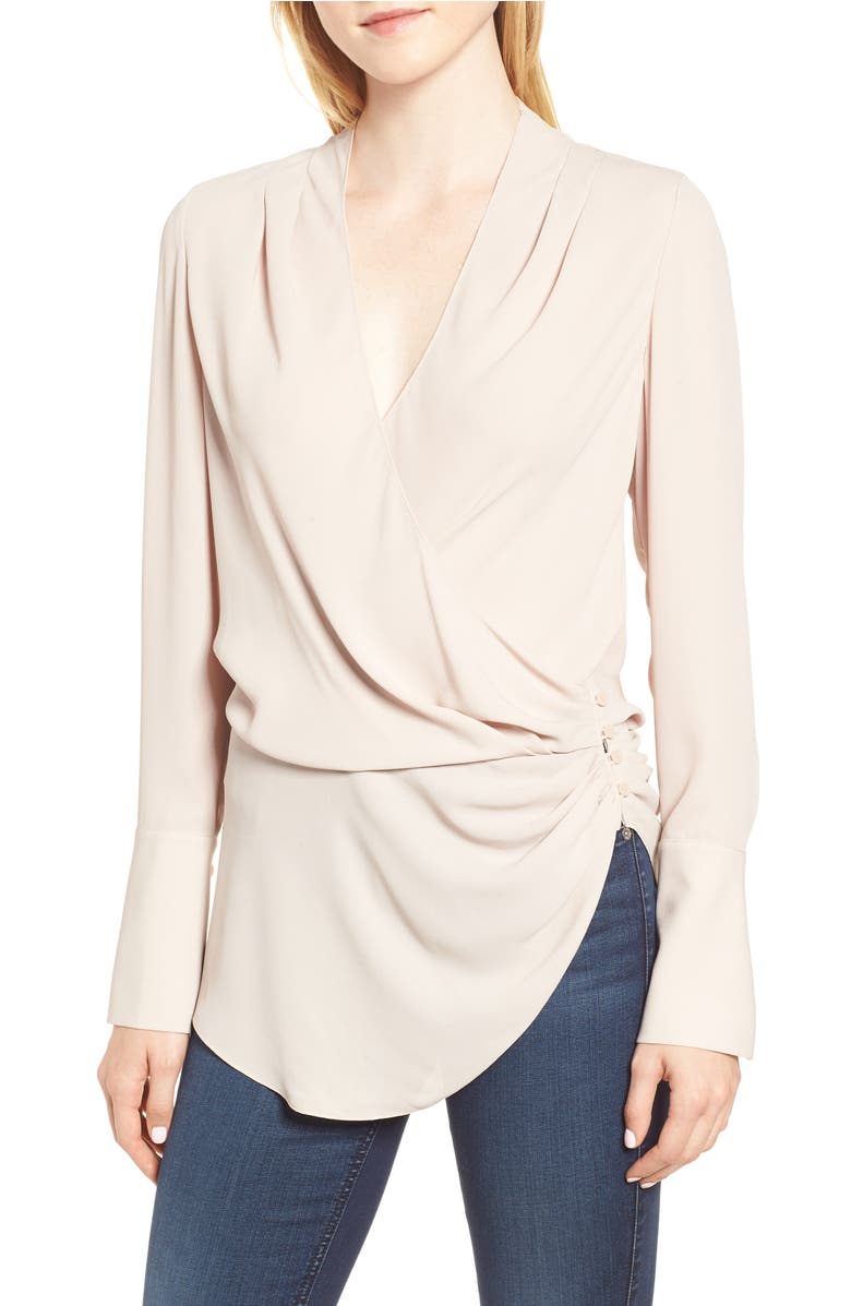 Trouvé Long Sleeve Wrap Blouse | Nordstrom