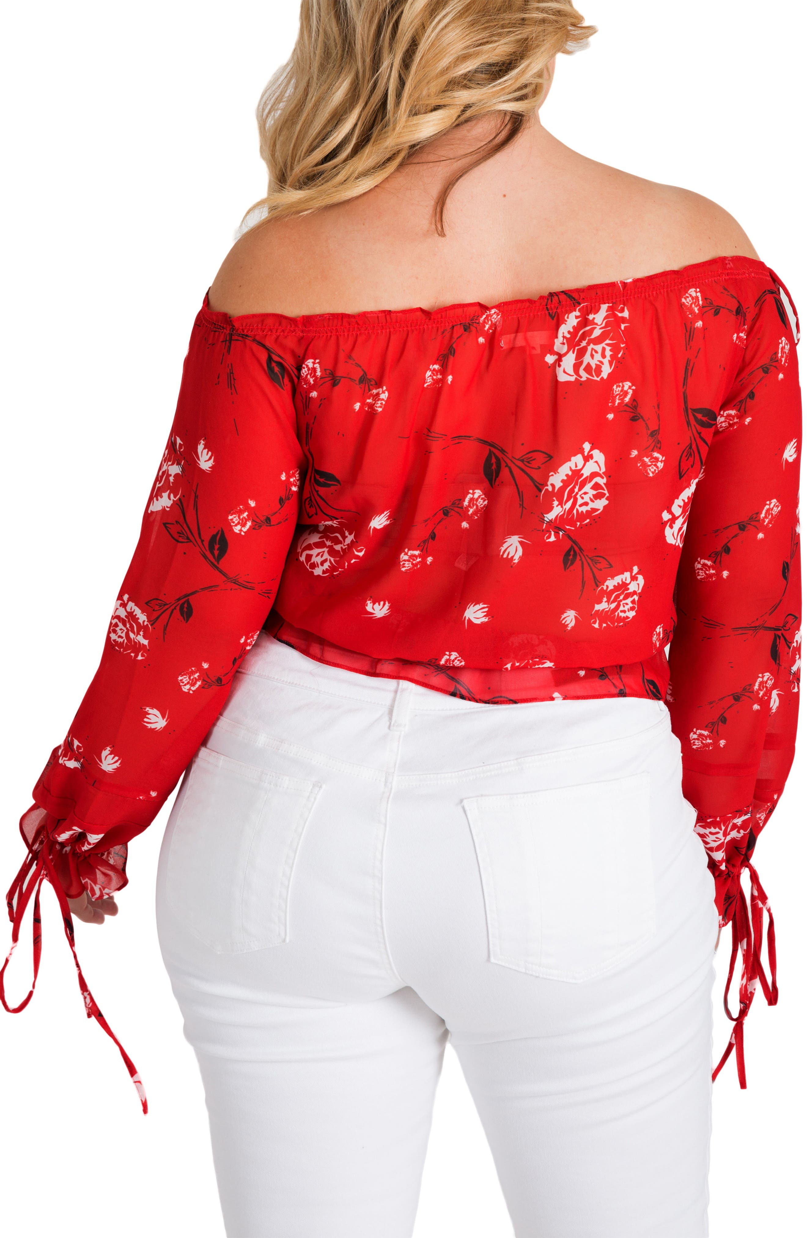 Marina Off the Shoulder Tie Sleeve Top,                             Alternate thumbnail 2, color,                             Red Tulip Print