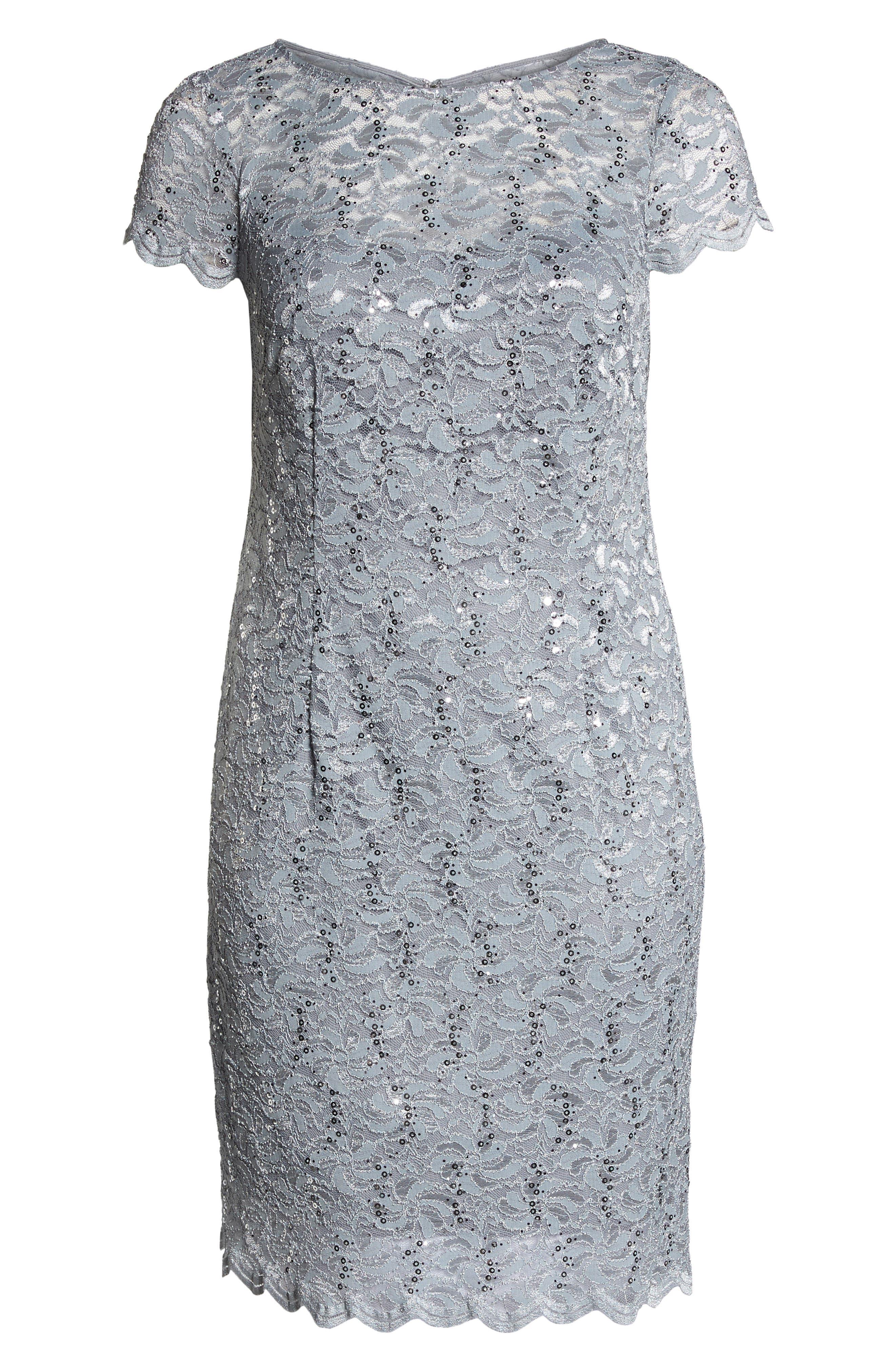 Sequin Lace Sheath Dress,                             Alternate thumbnail 6, color,                             Platinum