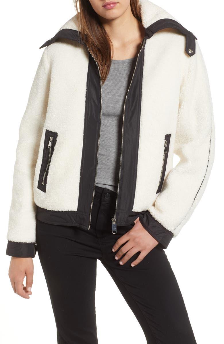 Short Faux Fur Jacket with Contrast Trim