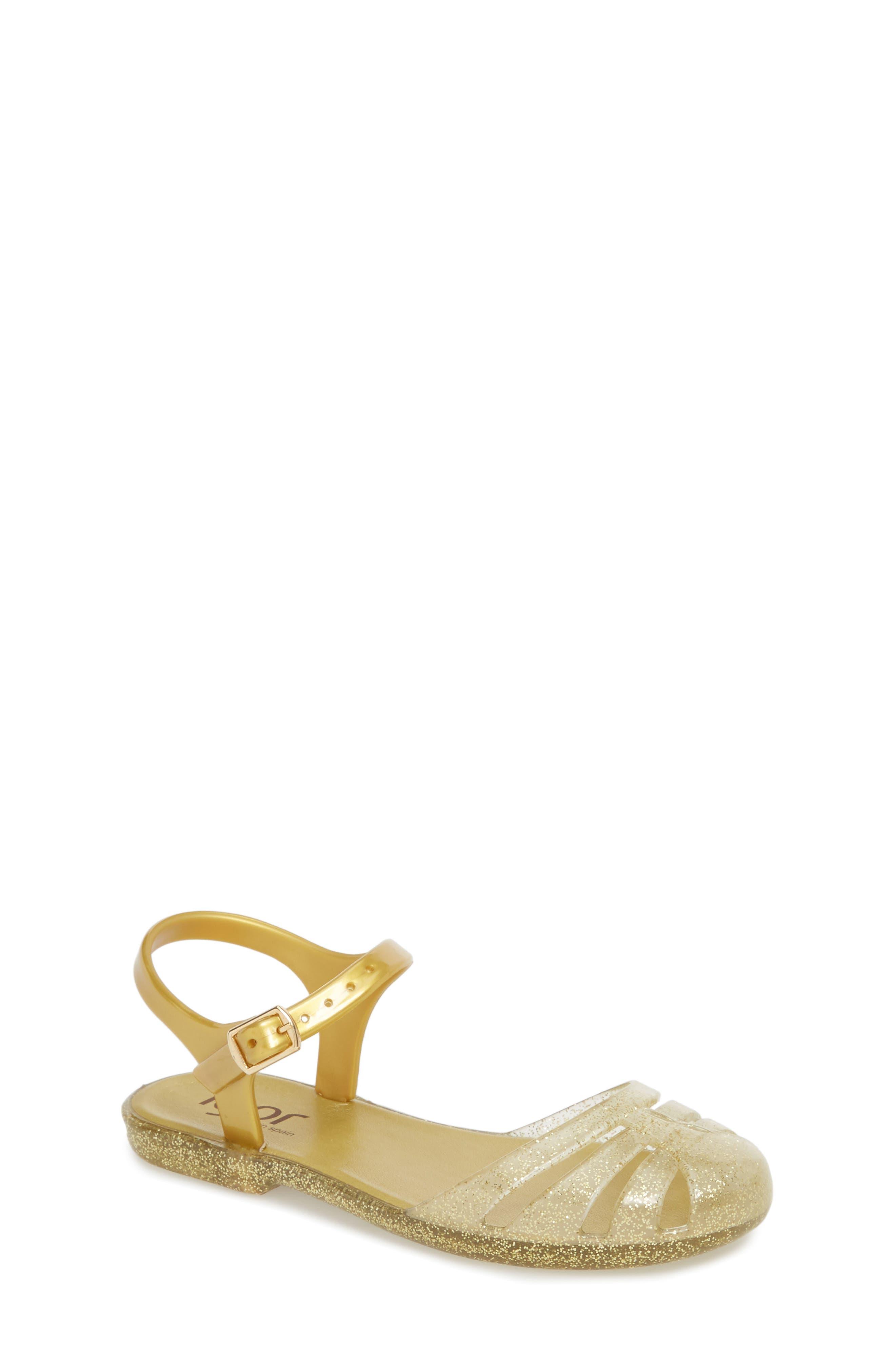 'Mara Mini' Glitter Jelly Sandal,                             Main thumbnail 1, color,                             Gold Glitter