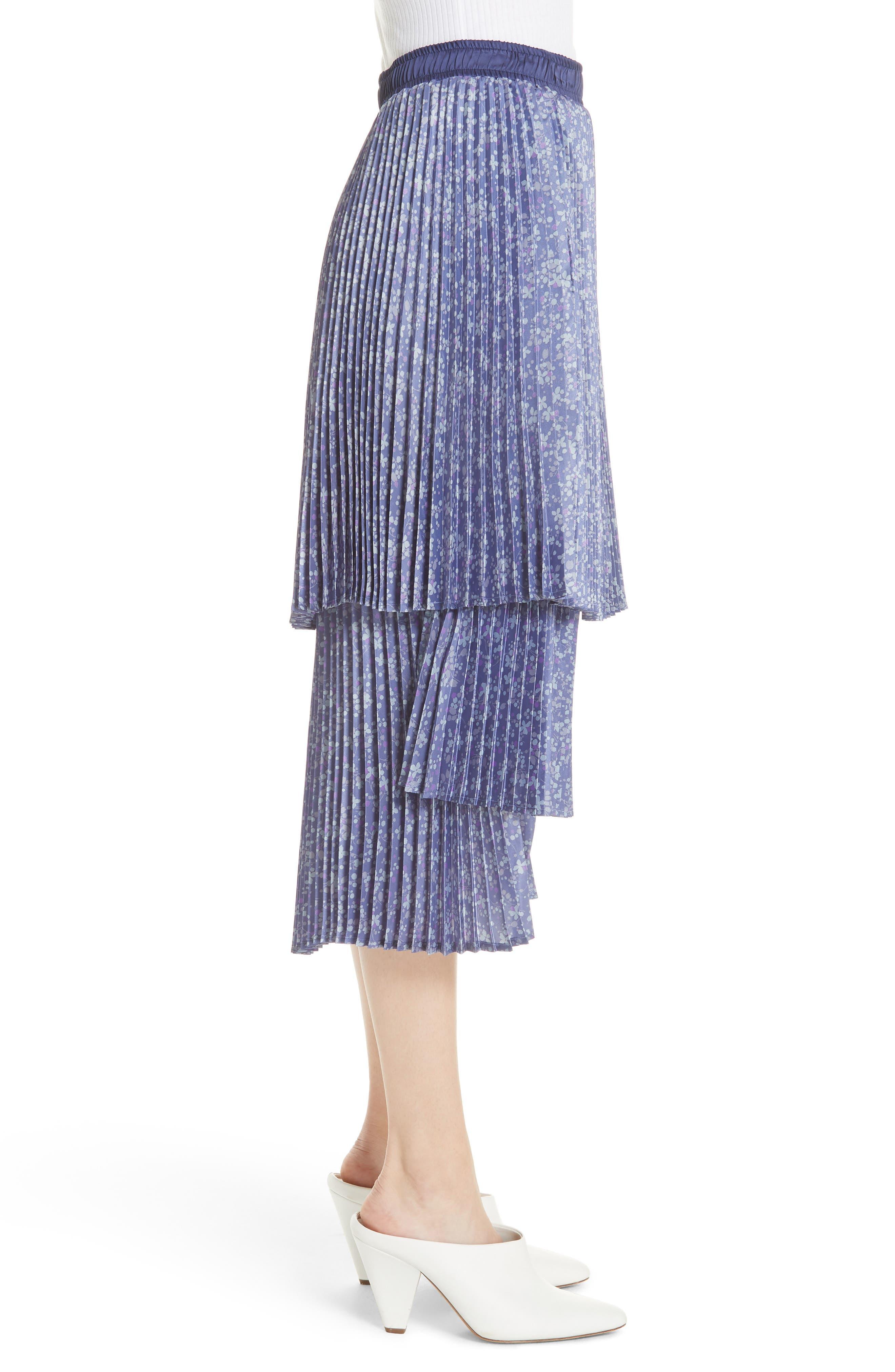 Floral Pleat Skirt,                             Alternate thumbnail 5, color,                             Blue